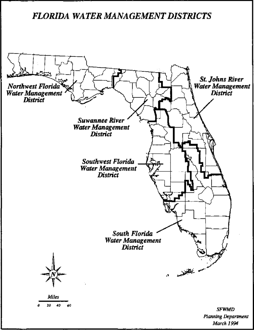 Boundaries Of Florida's Five Water Management Districts. | Download - Northwest Florida Water Management District Map