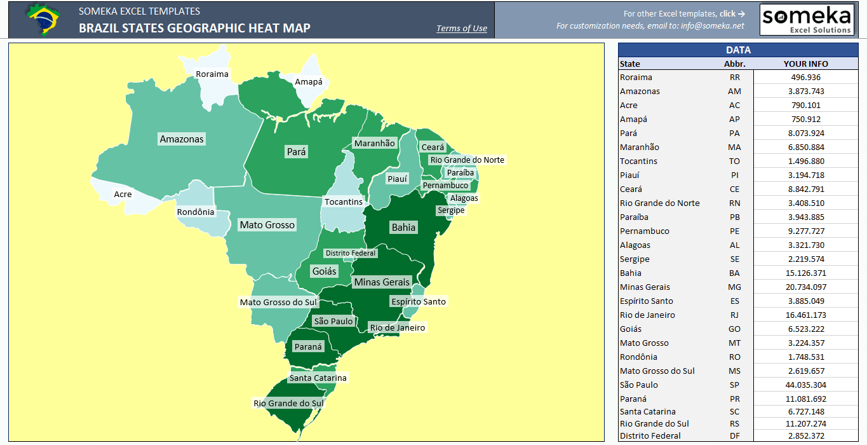 Brazil Heat Map Generator - Dynamic & Printable Excel Template - Create Printable Map