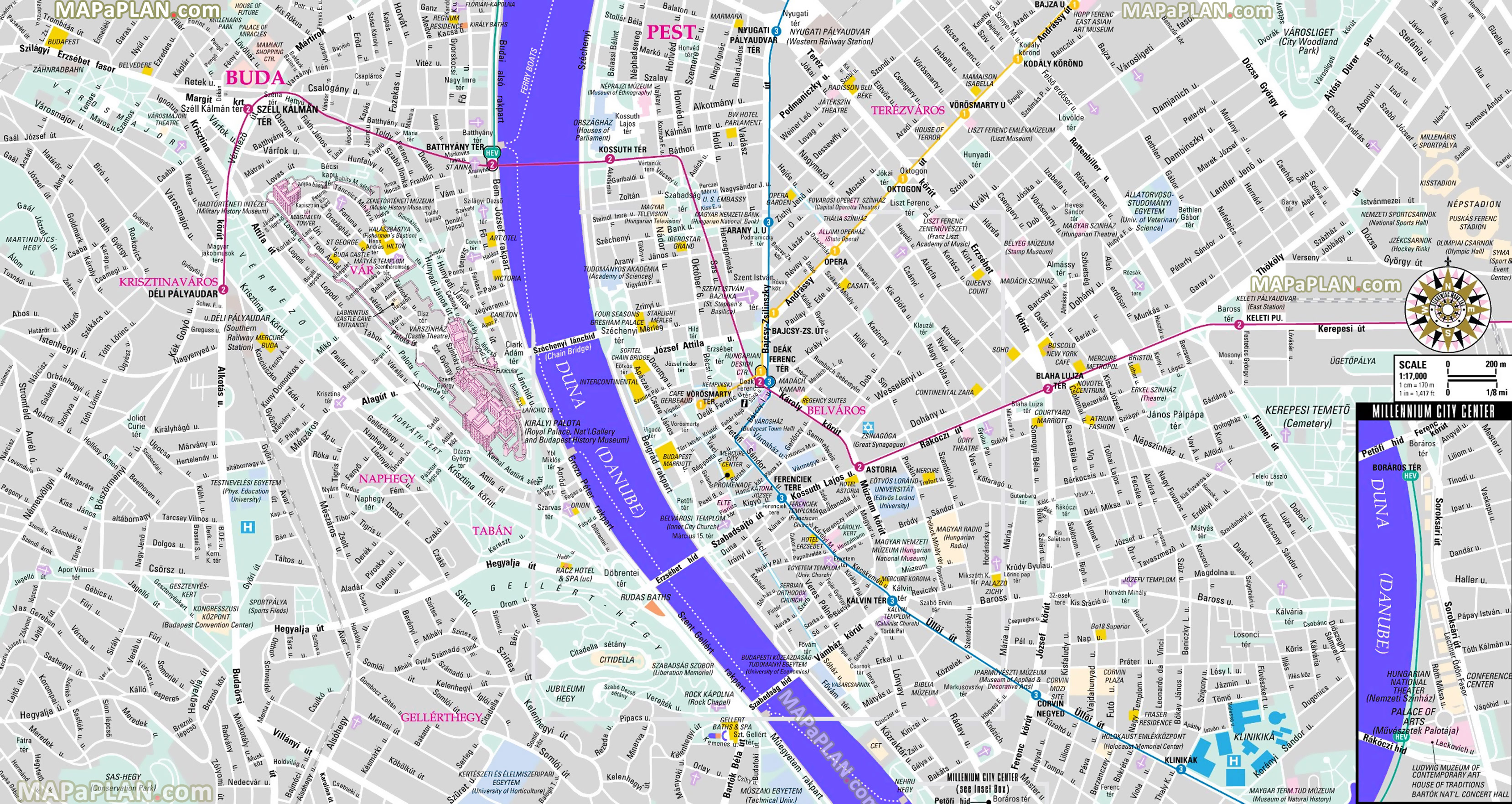 Budapest Maps - Top Tourist Attractions - Free, Printable City - Printable City Street Maps