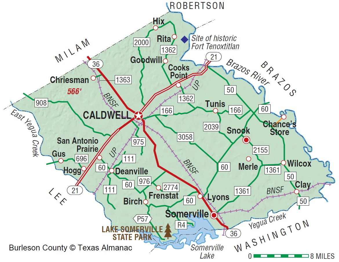 Burleson County | The Handbook Of Texas Online| Texas State - Brazos County Texas Map