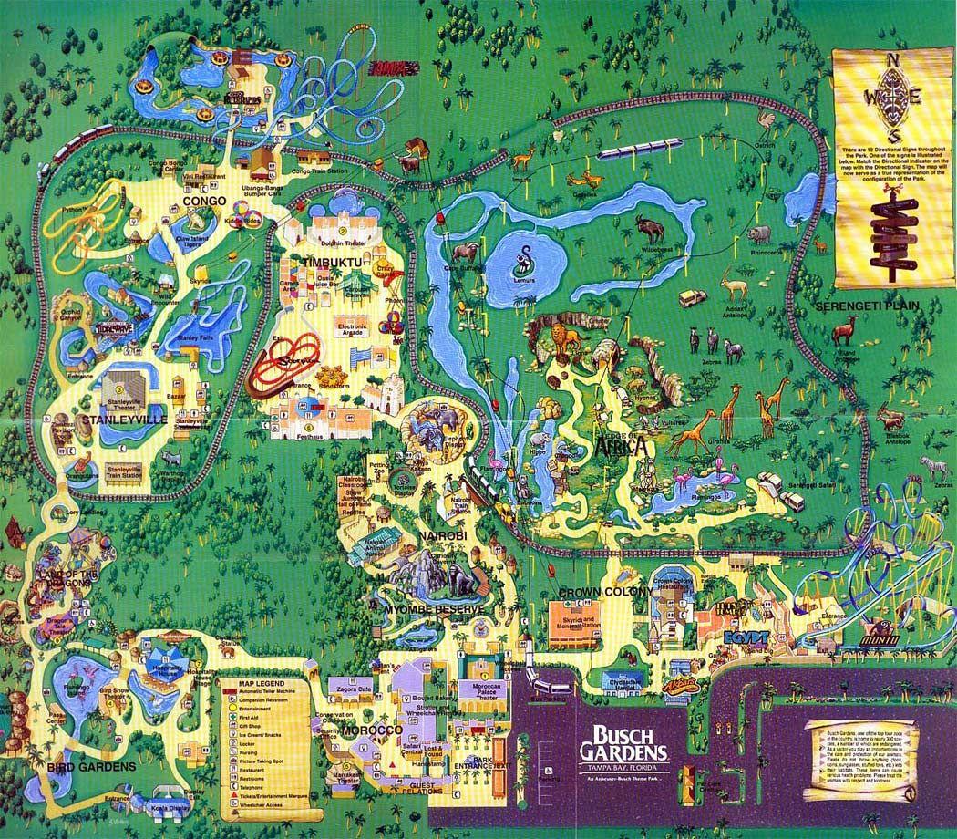 Busch Gardens Tampa - 1999 | Theme Park Maps | Busch Gardens - Bush Garden Florida Map