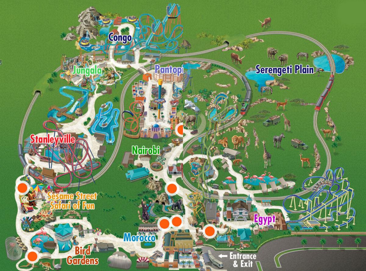 Busch Gardens Tampa – Travels, Trips & Tails - Busch Gardens Florida Map