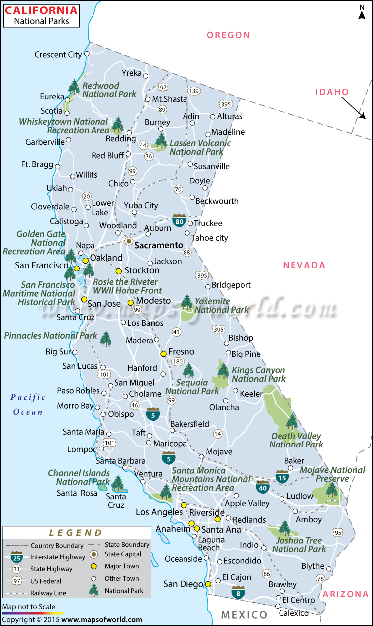 Buy California National Parks Map - Map Of California Parks