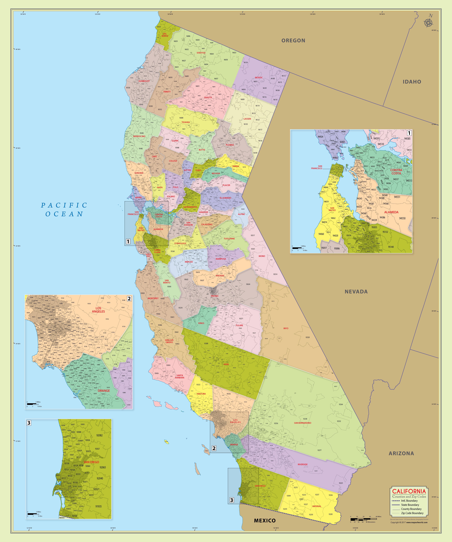Buy California Zip Code Map With Counties - California Zip Code Map