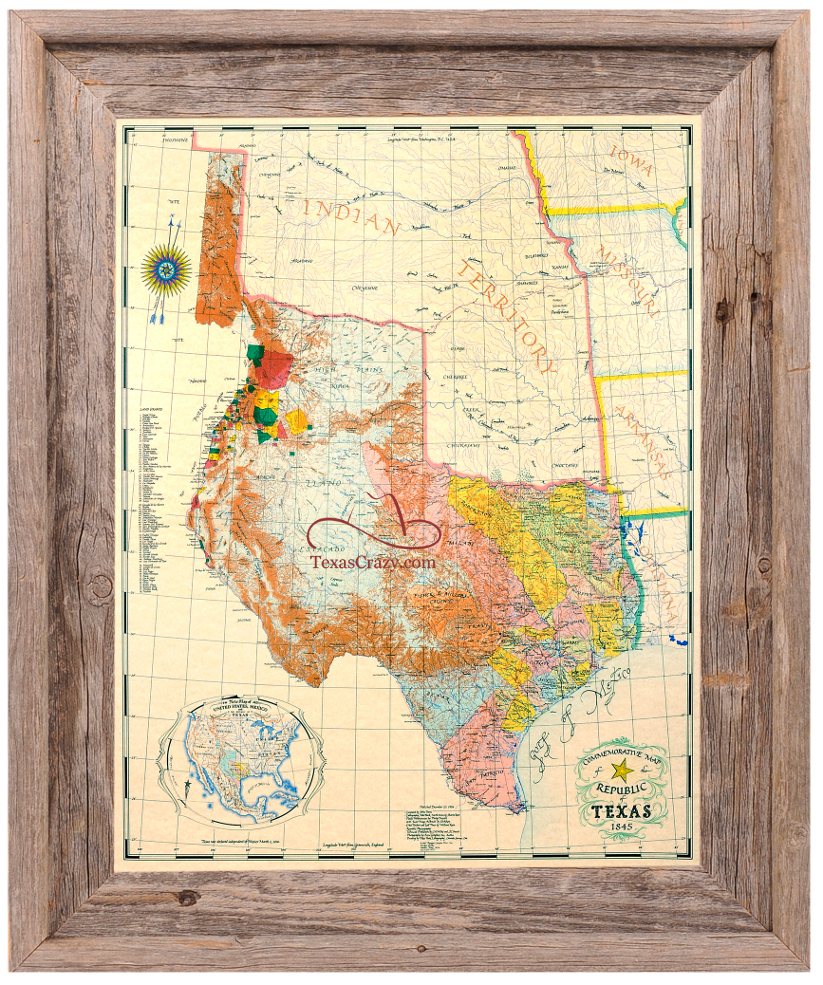 Buy Republic Of Texas Map 1845 Framed - Historical Maps And Flags - Texas Map Framed Art