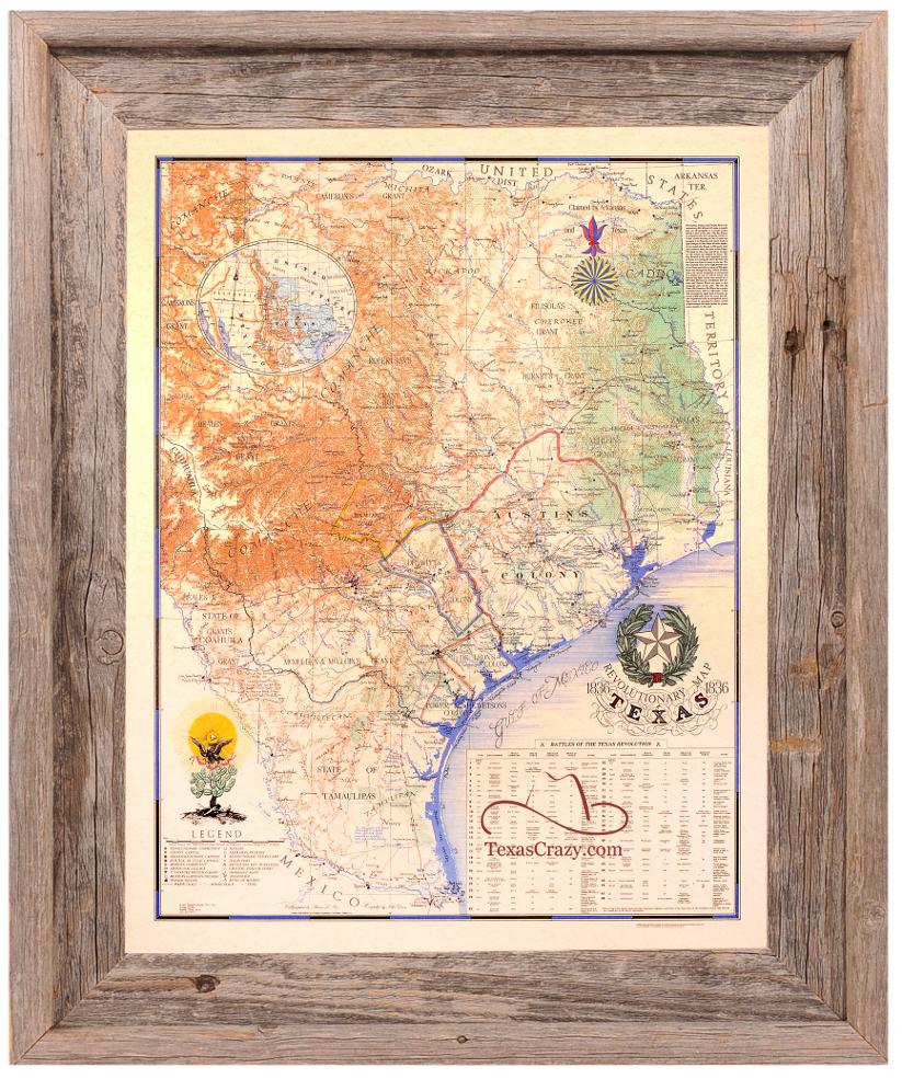 Buy Texas Revolution Map 1836 Large Framed - Republic Of Texas - Republic Of Texas Map Framed