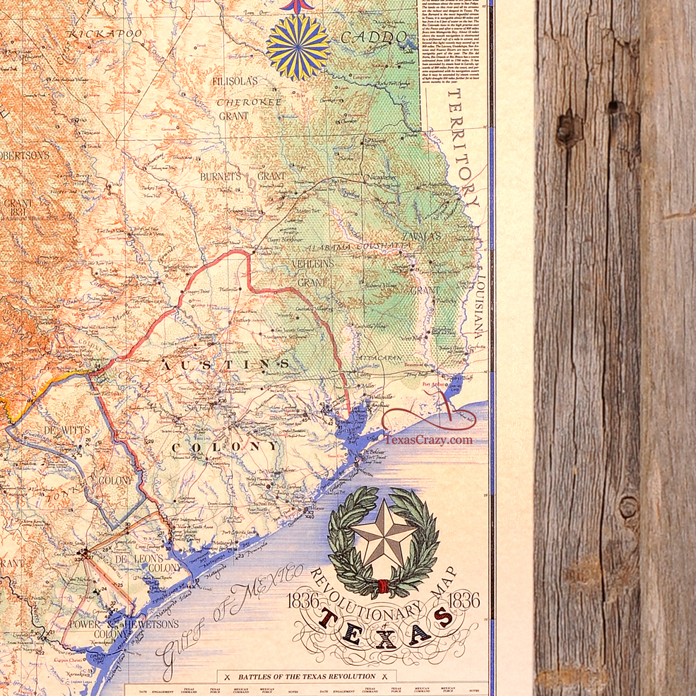 Buy Texas Revolution Map 1836 Large Framed - Republic Of Texas - Texas Map 1836