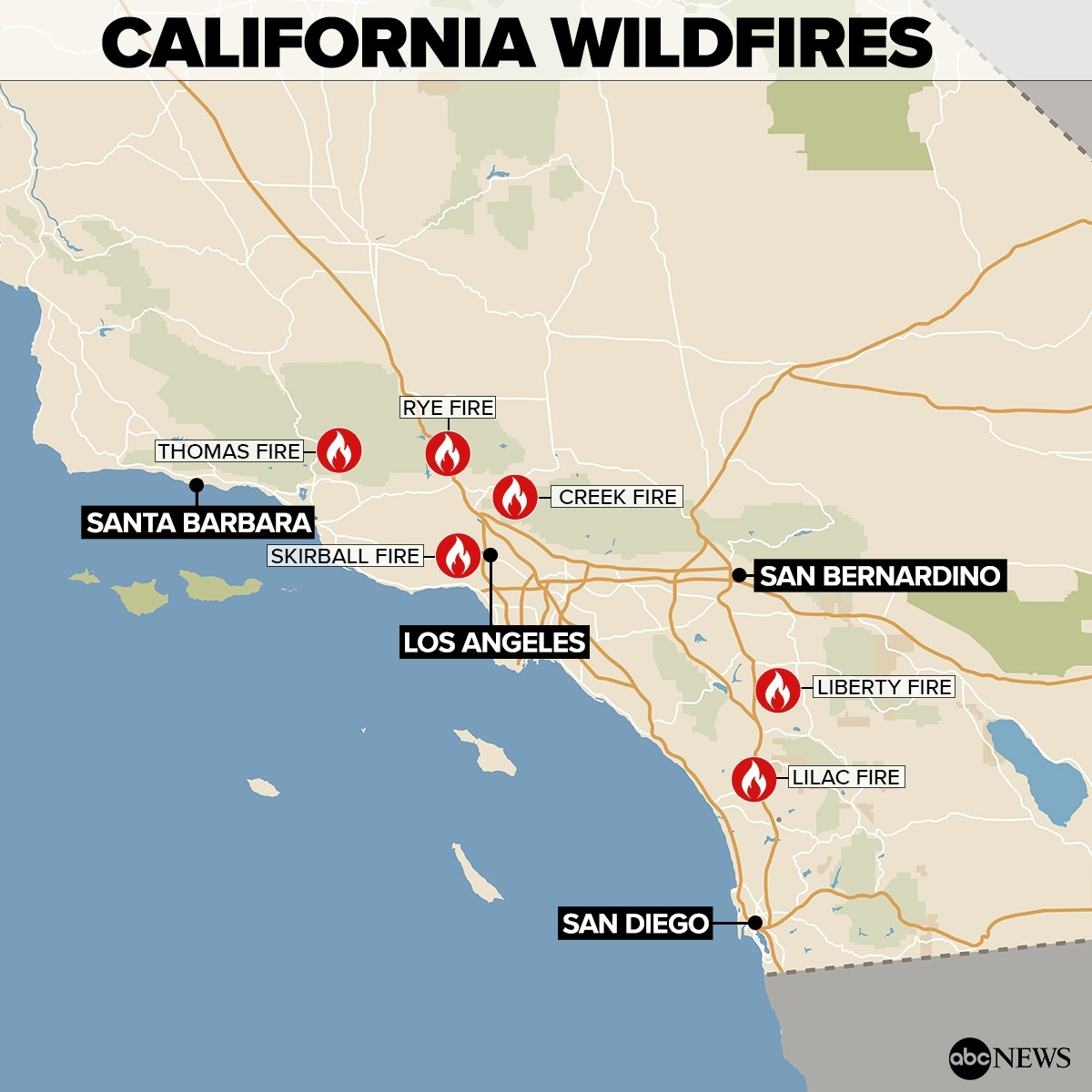 By The Numbers: Southern California Wildfires – Abc News Regarding - Abc News California Fires Map