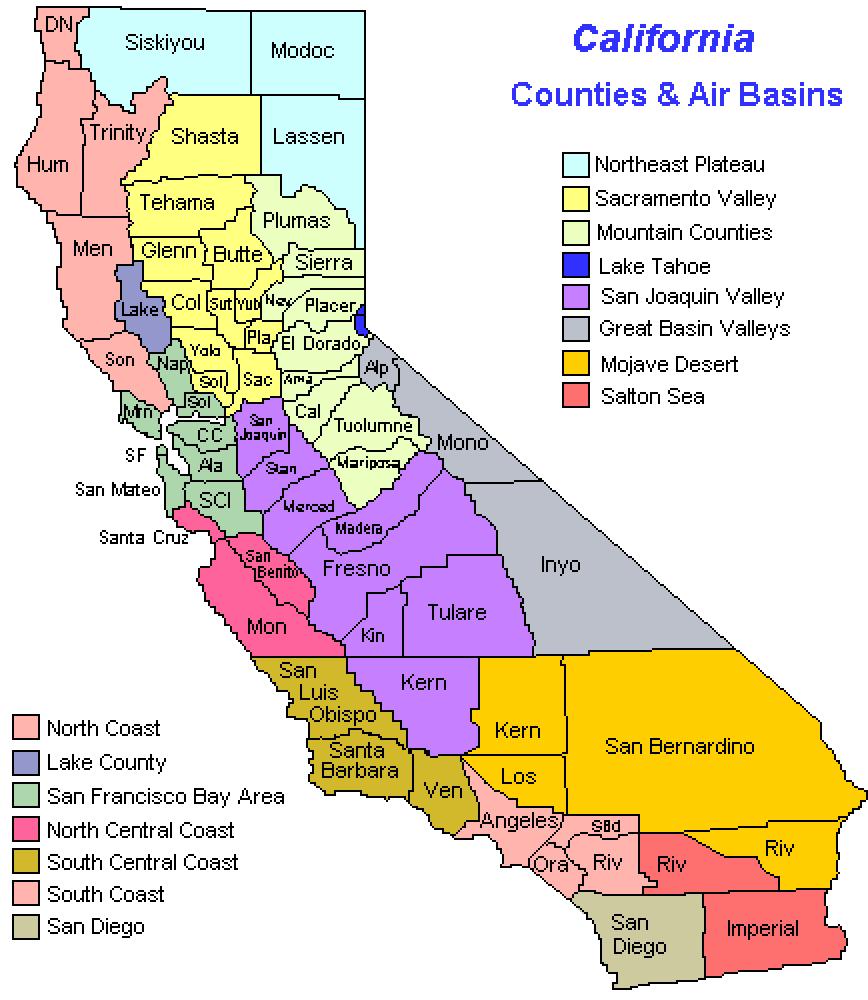 Ca Air Basin Map Large Large Map Of California Air Quality Map - Air Quality Map For California
