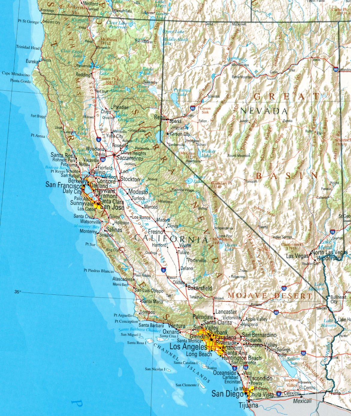 Ca Blank Map California Geographical Map - Klipy - California Geography Map