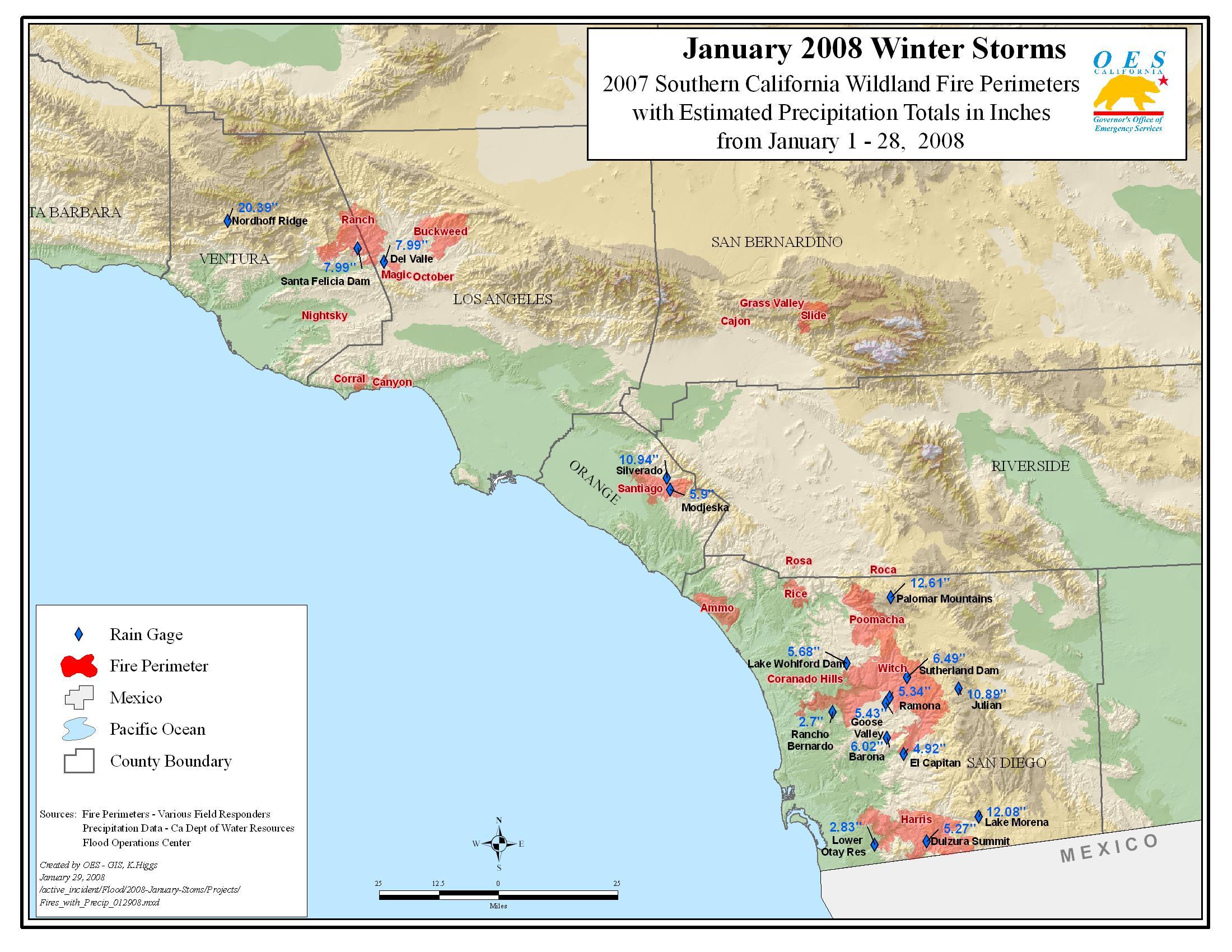 Ca Oes, Fire - Socal 2007 - Live Fire Map California
