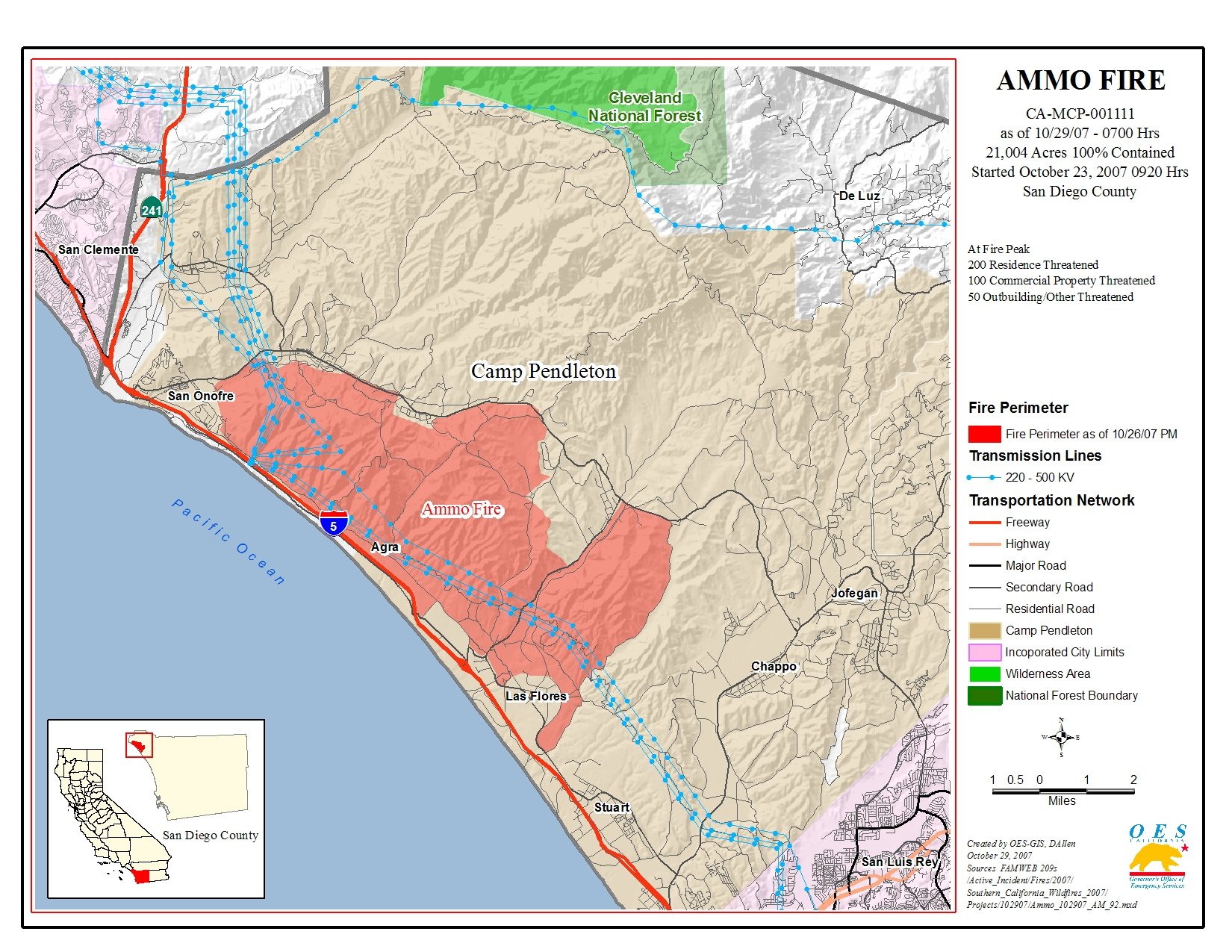 Ca Oes, Fire - Socal 2007 - Map Showing Current Fires In California