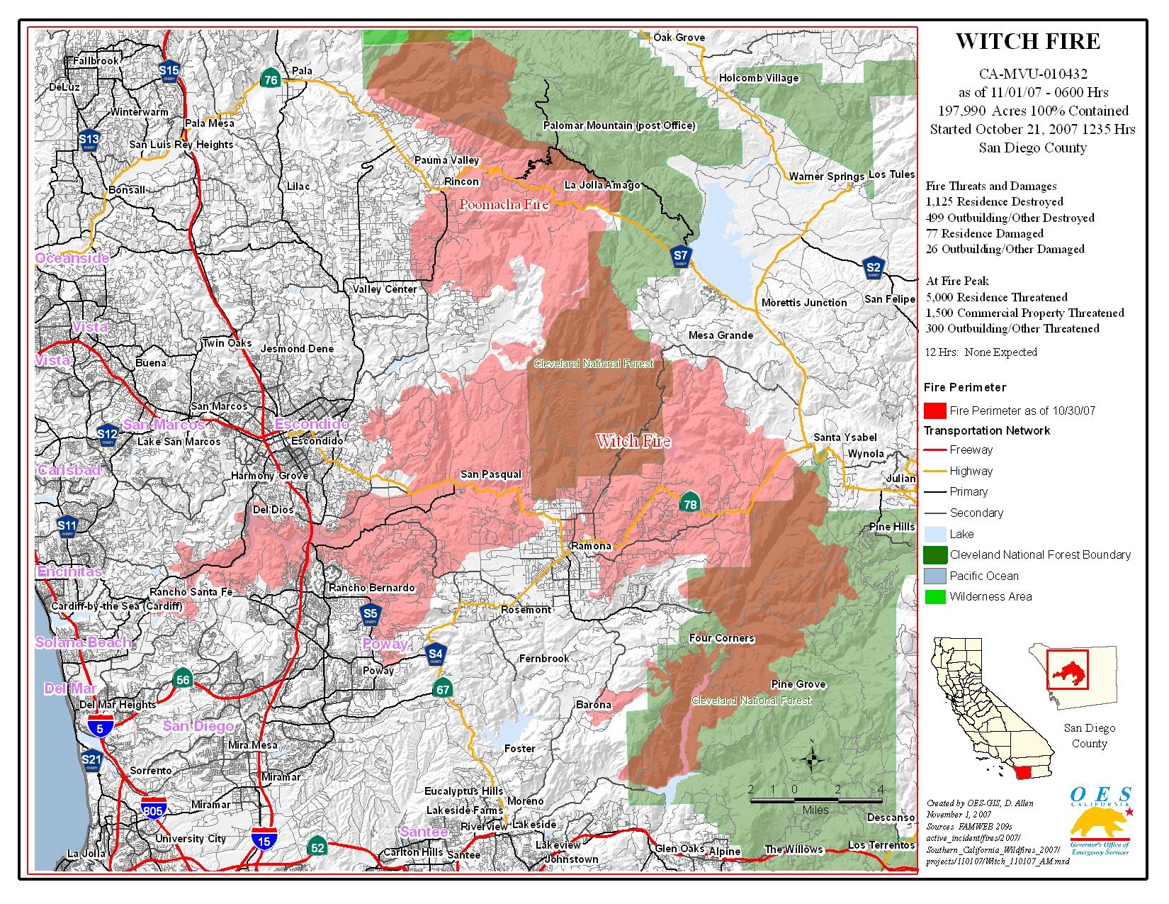 Ca Oes, Fire - Socal 2007 - Riverside California Fire Map