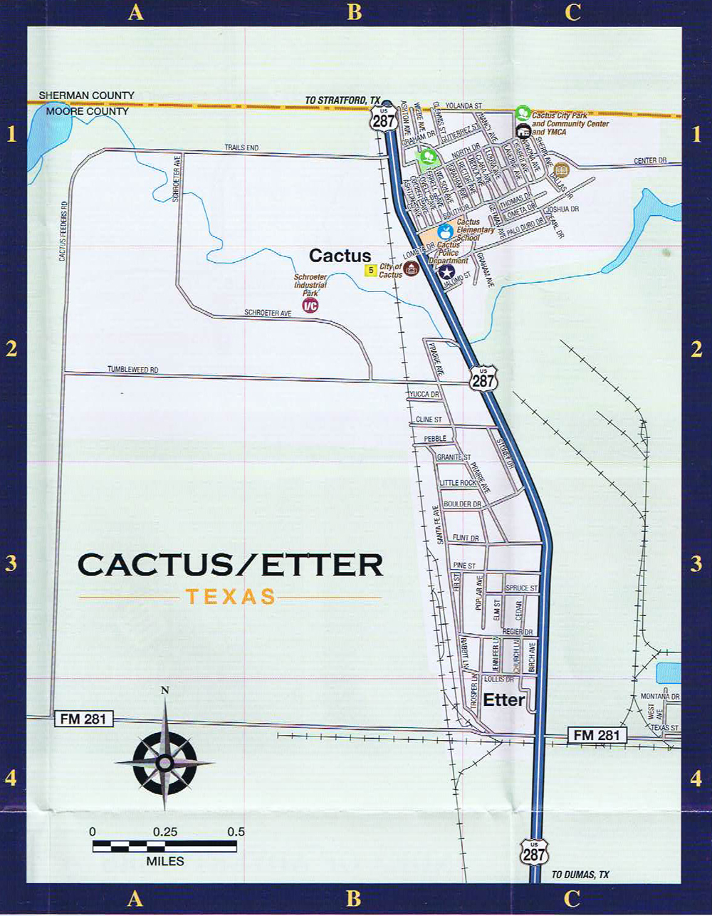 Cactus Local Street Map - Dumas Texas Map