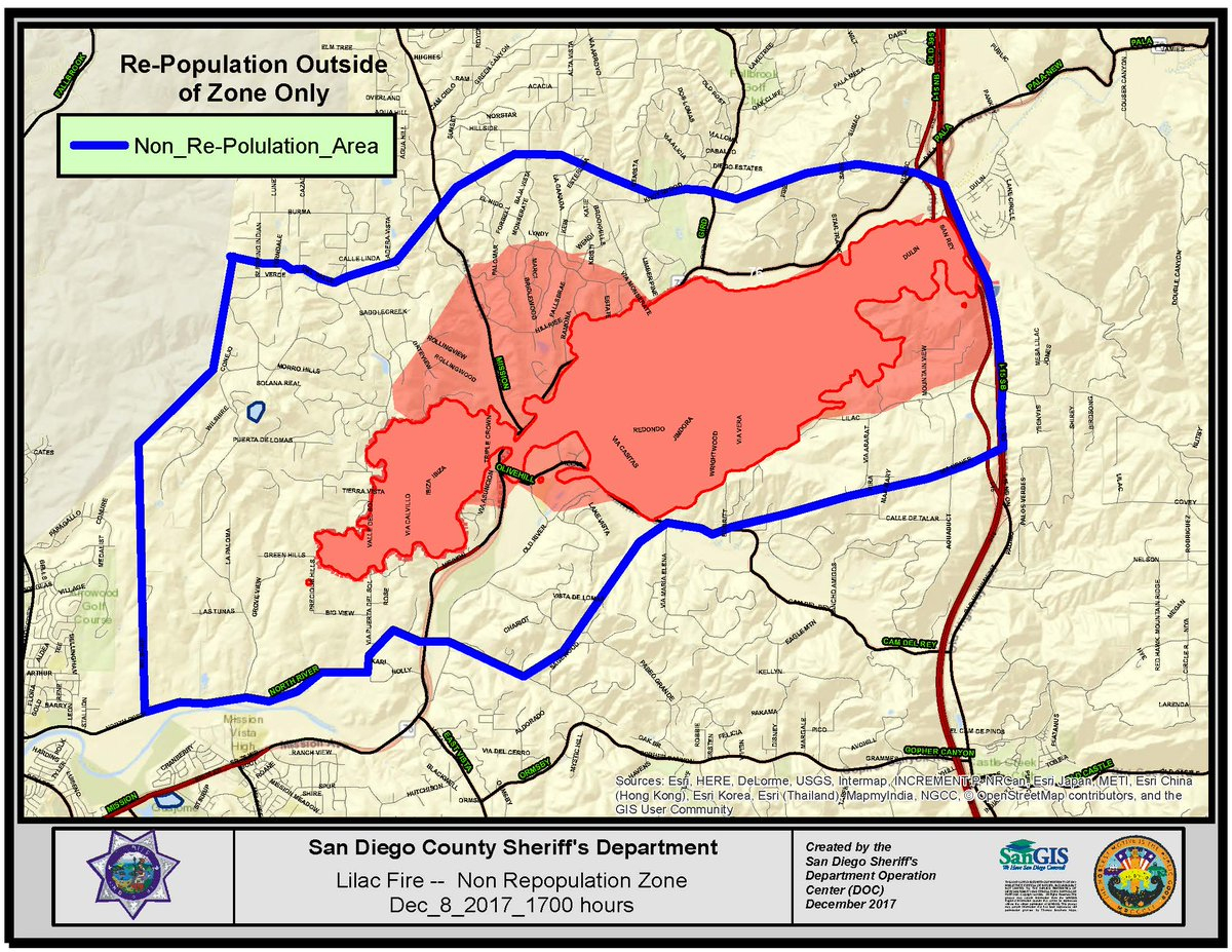 """Cal Fire/san Diego County Fire On Twitter: """"repopulation Map From - San Diego California Fire Map"""