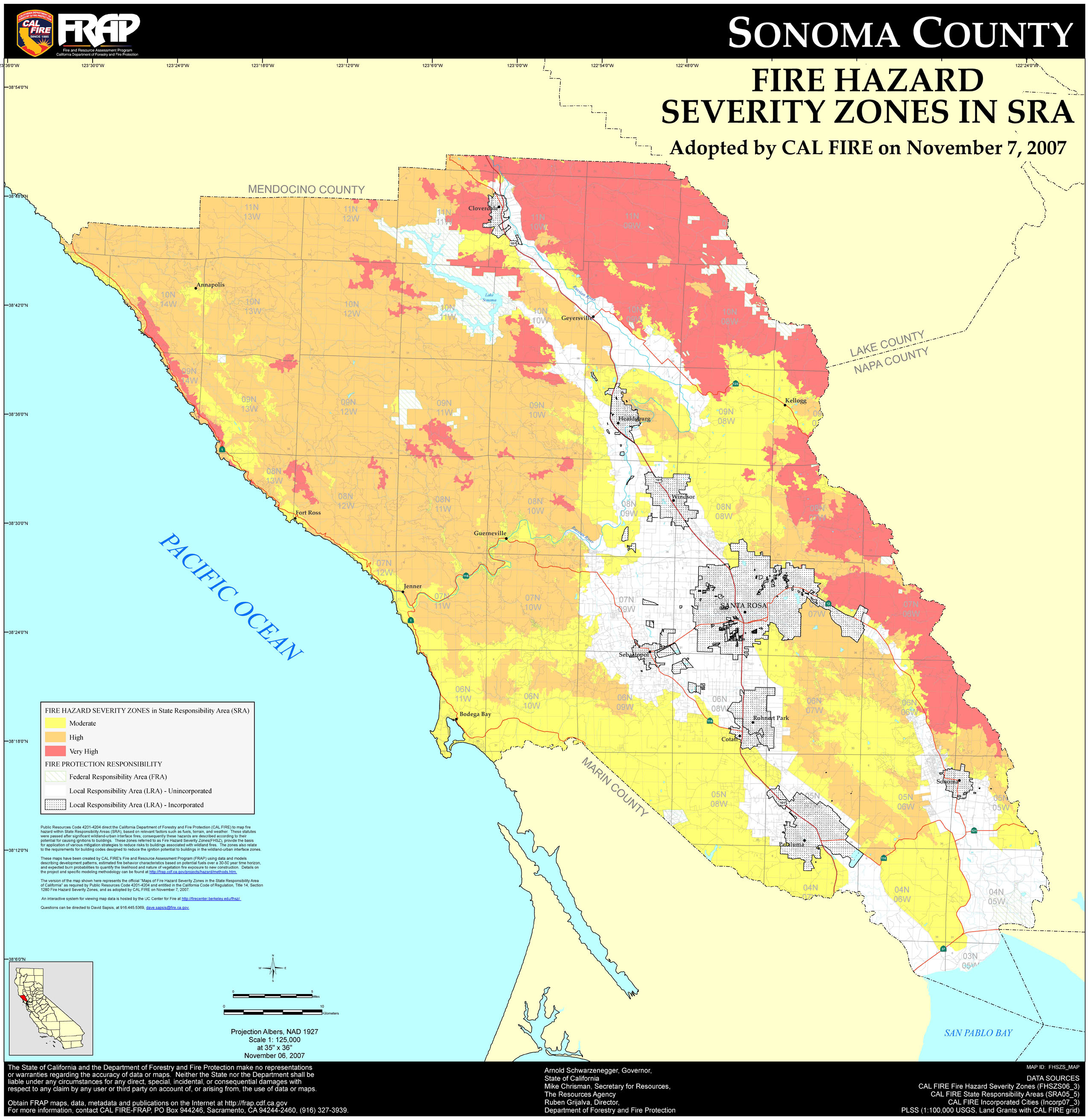 Cal Fire Sonoma County Fhsz Map In California Fire Google - Touran - California Fire Map Google