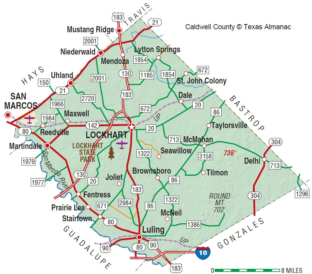 Caldwell County | The Handbook Of Texas Online| Texas State - Caldwell Texas Map