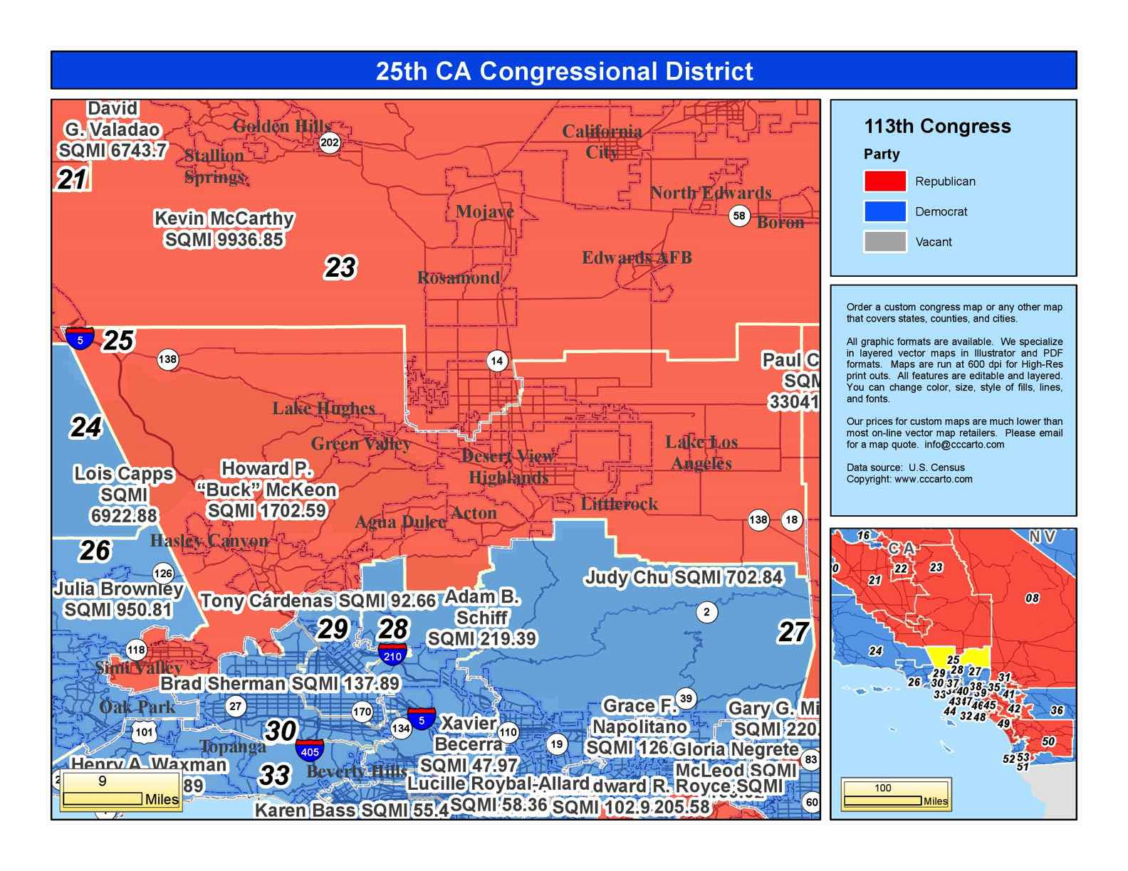 California 25Th Congressional District - Steve Knight (R) District - California 25Th District Map
