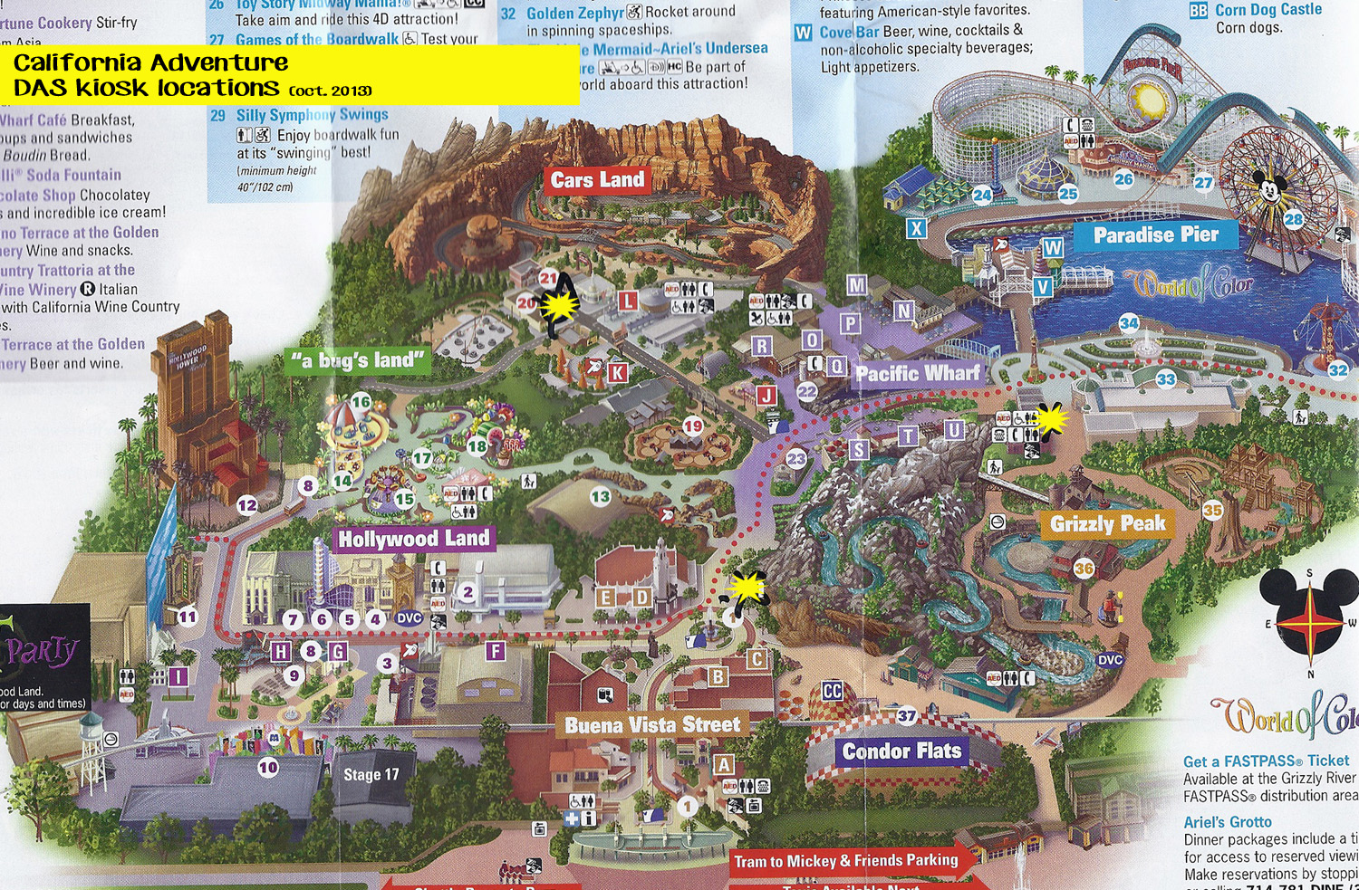 California Adventure Das Kiosk Locations Map Of Cities Printable Map - California Adventure Map 2017 Pdf