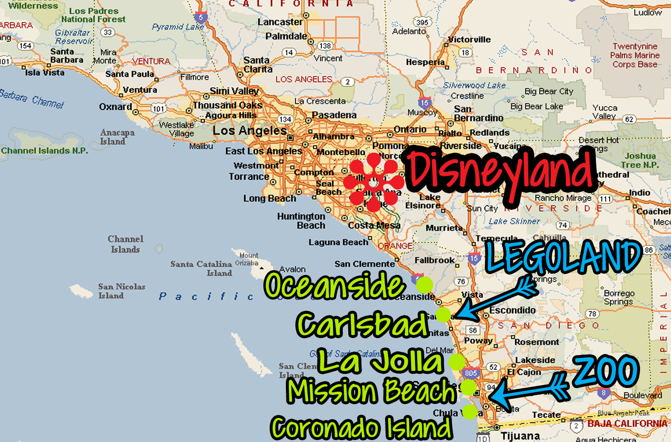 California Amusement Parks Map - Klipy - Amusement Parks California Map