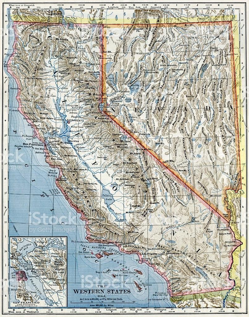California And Nevada Map Google Maps California Map California And - California Nevada Map