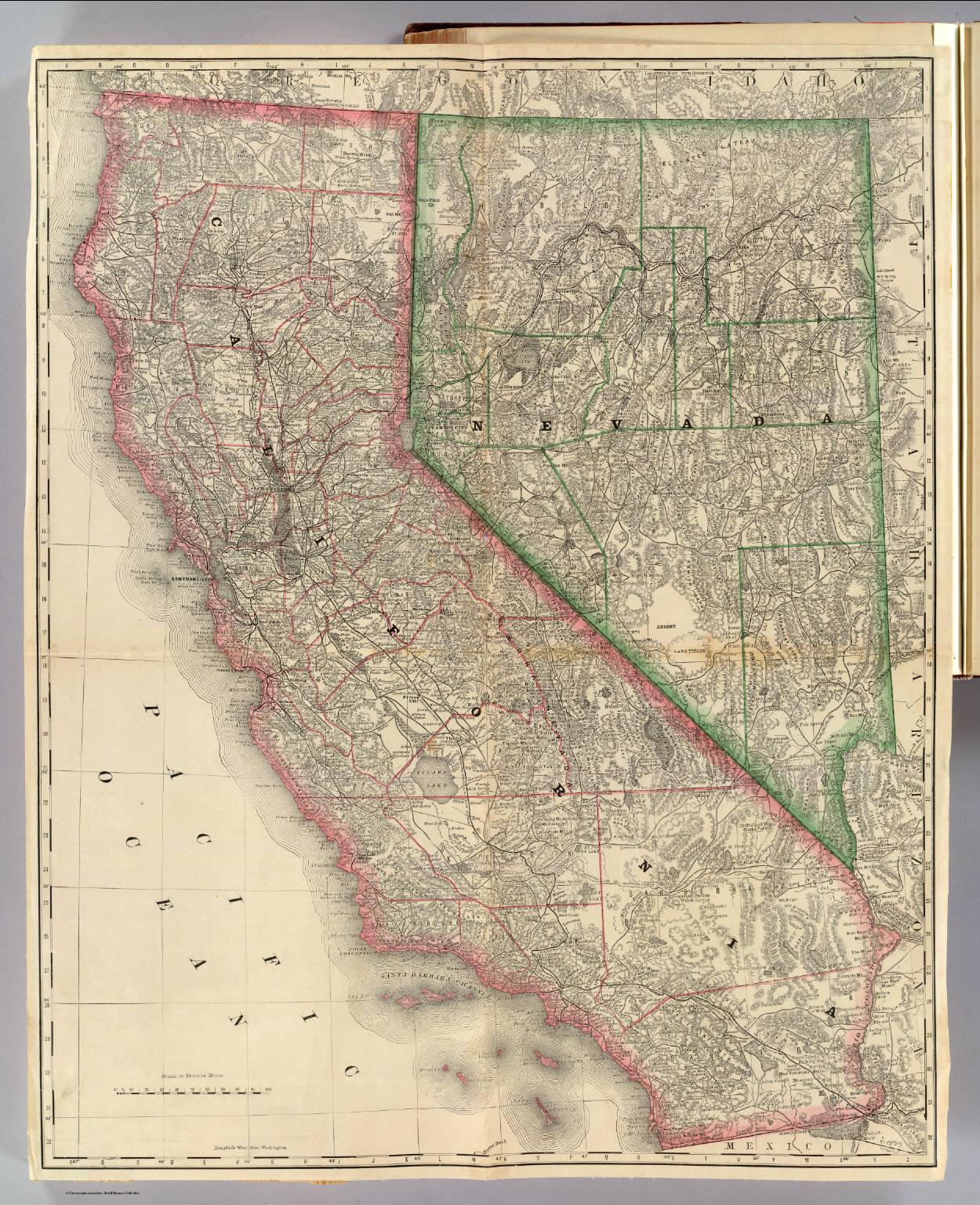 California And Nevada) / Rand Mcnally And Company / 1879 - Rand Mcnally California Map