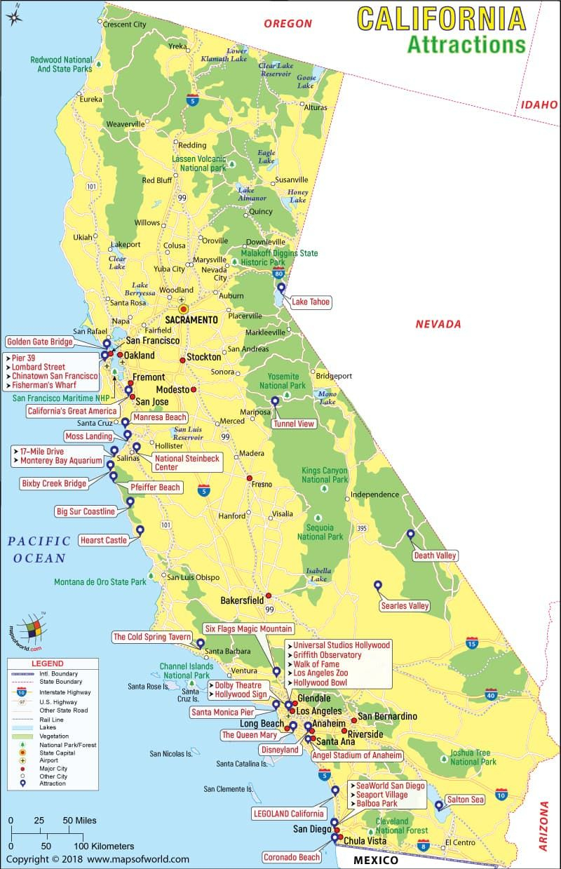 California Attractions Map | Travel | Pinterest | Travel, California - California Tourist Map