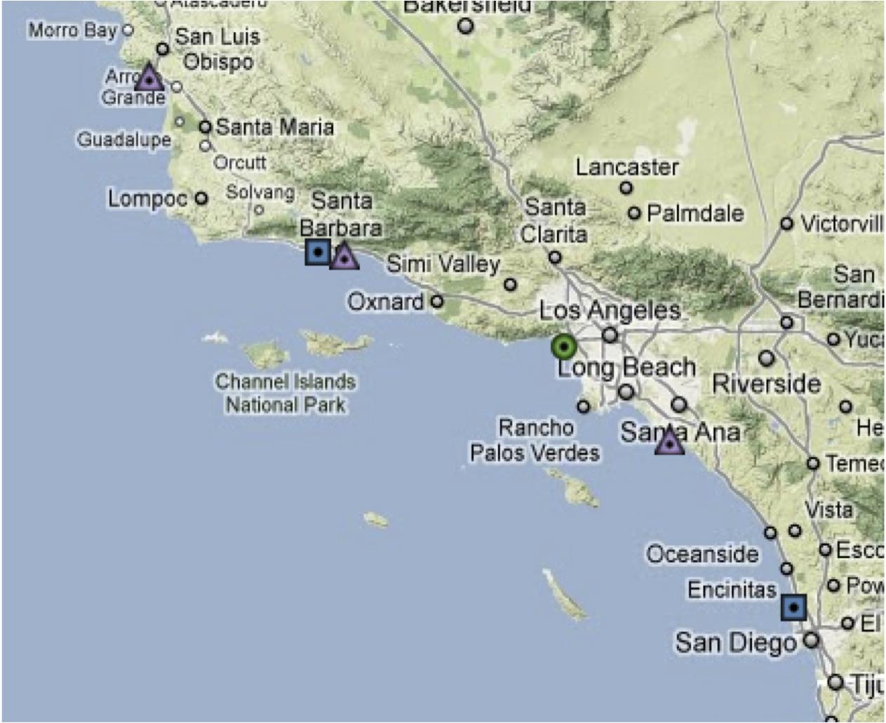 California Beach Cities Map - Klipy - Map Of Southern California Beach Cities
