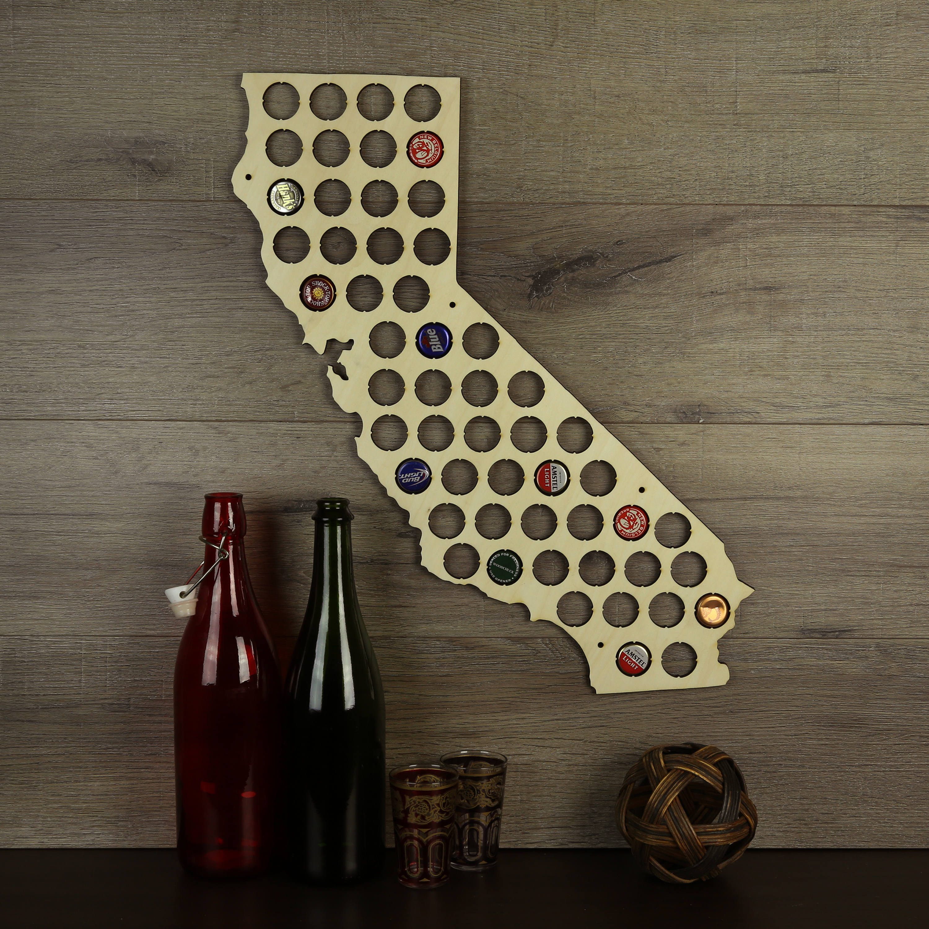California Beer Cap Map Beer Cap Holder Cap Map Cap Maps | Etsy - California Beer Cap Map