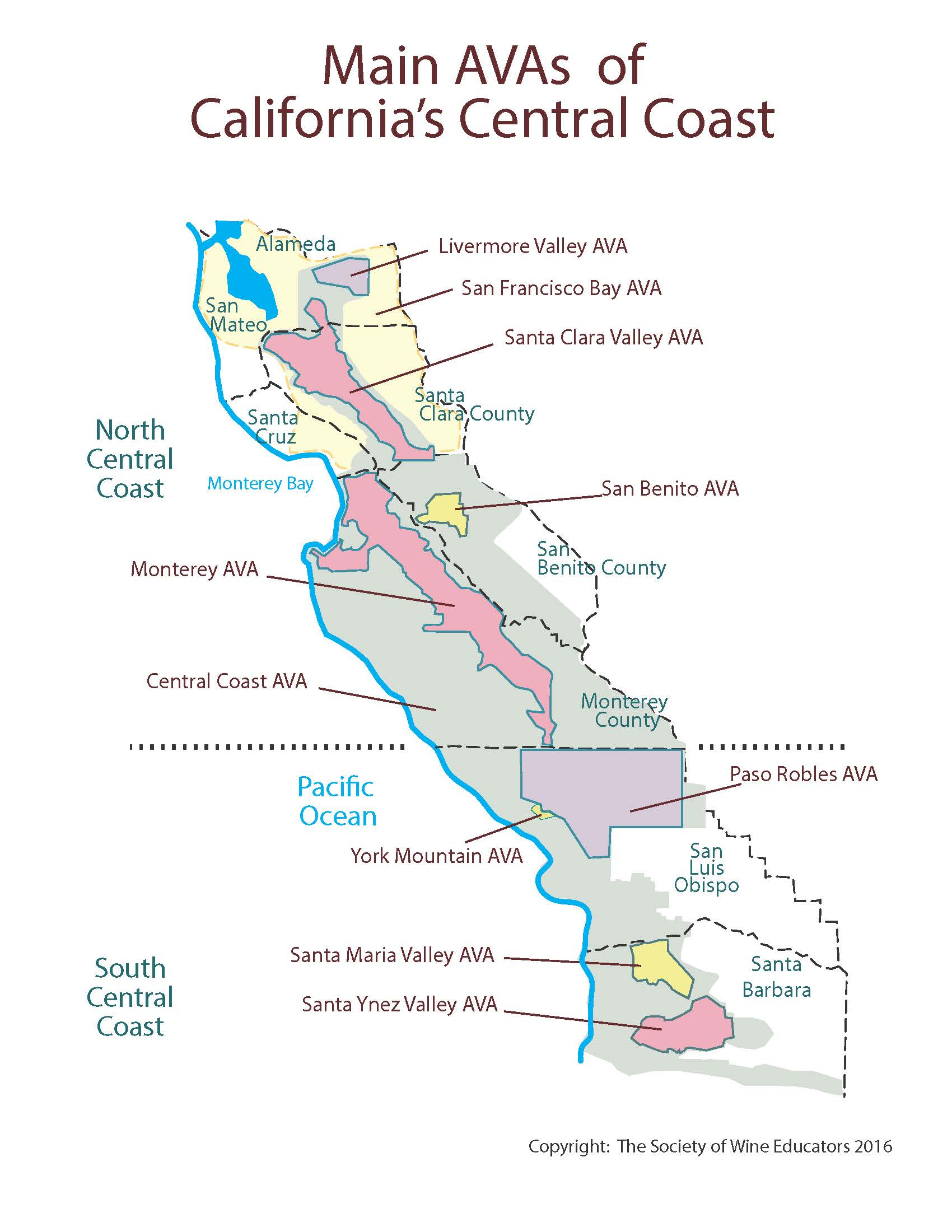 California—Central Coast: Swe Map 2018 – Wine, Wit, And Wisdom - Map Of California Coast