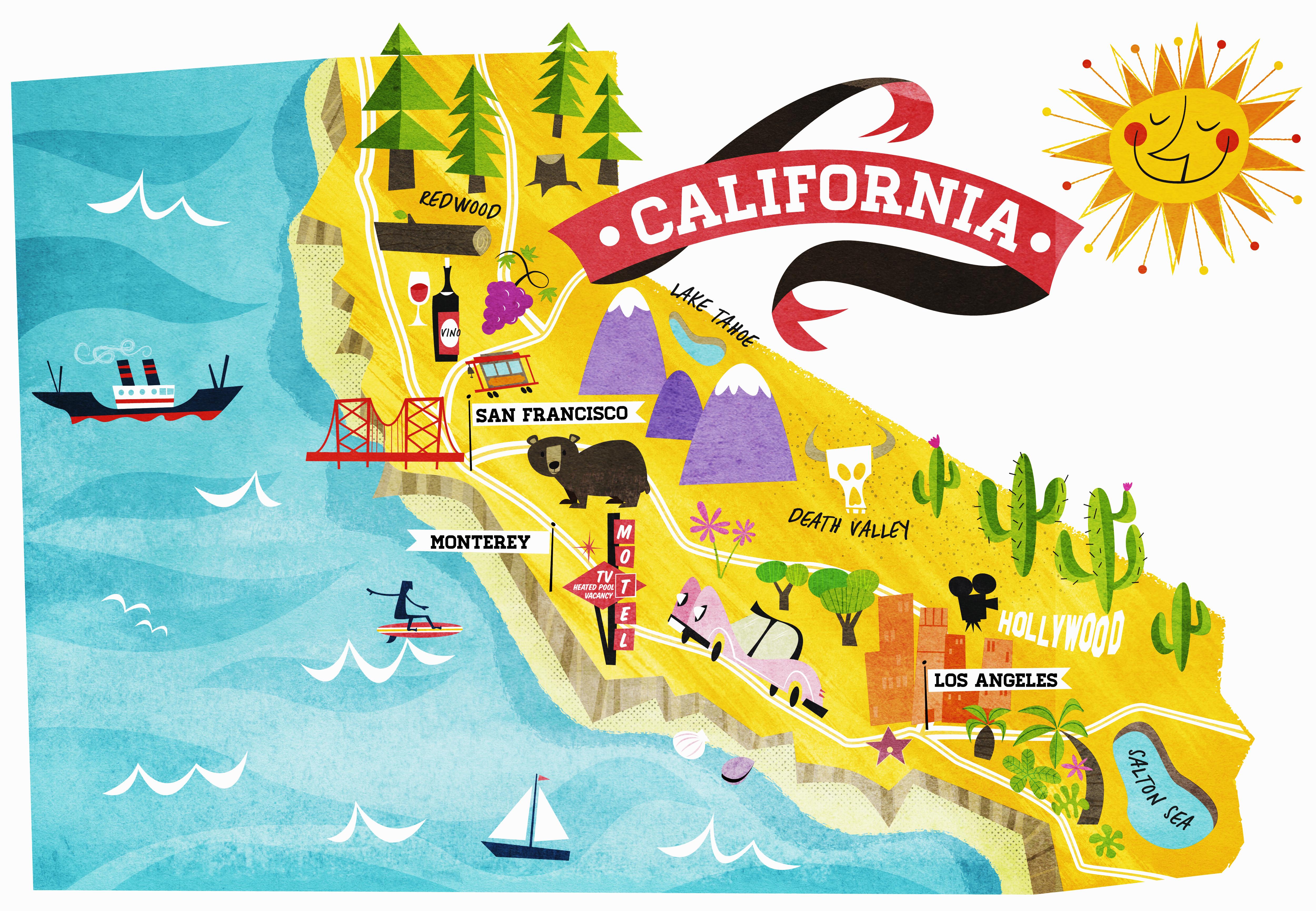 California Coast Attractions Map - Klipy - California Coast Attractions Map