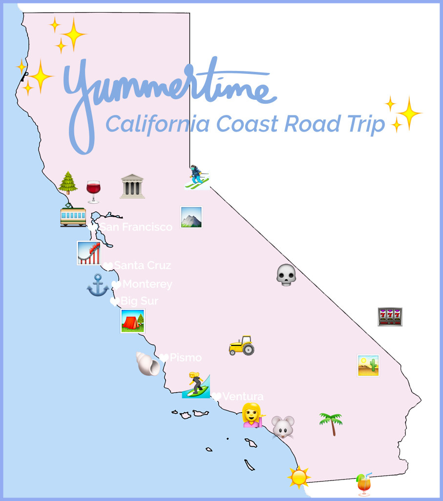 California Coast Map Road Trip - Klipy - Road Trip California Map