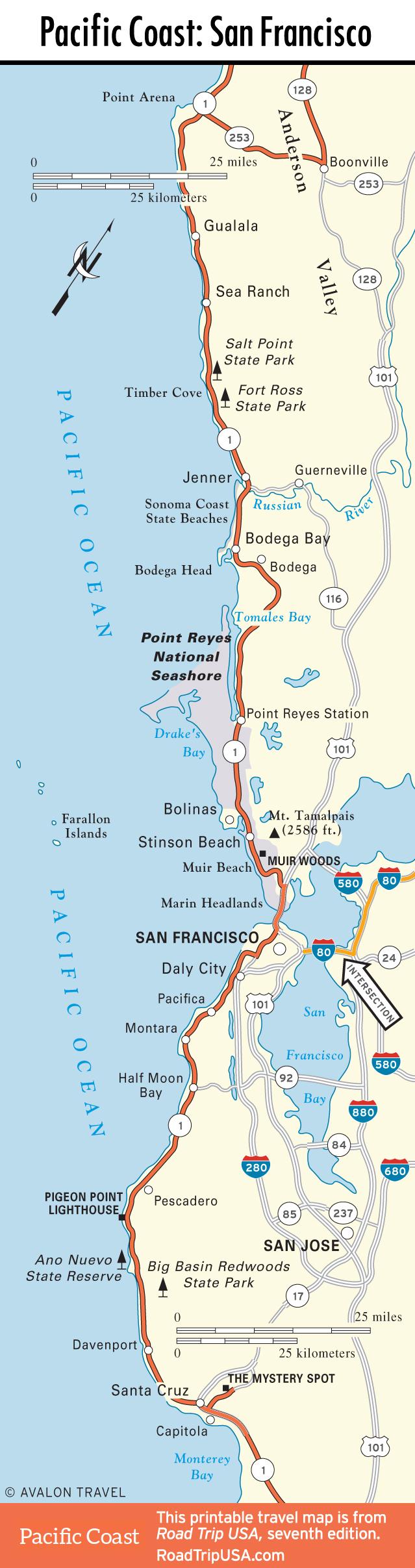 California Coastal Towns Map - Klipy - California Coastal Towns Map