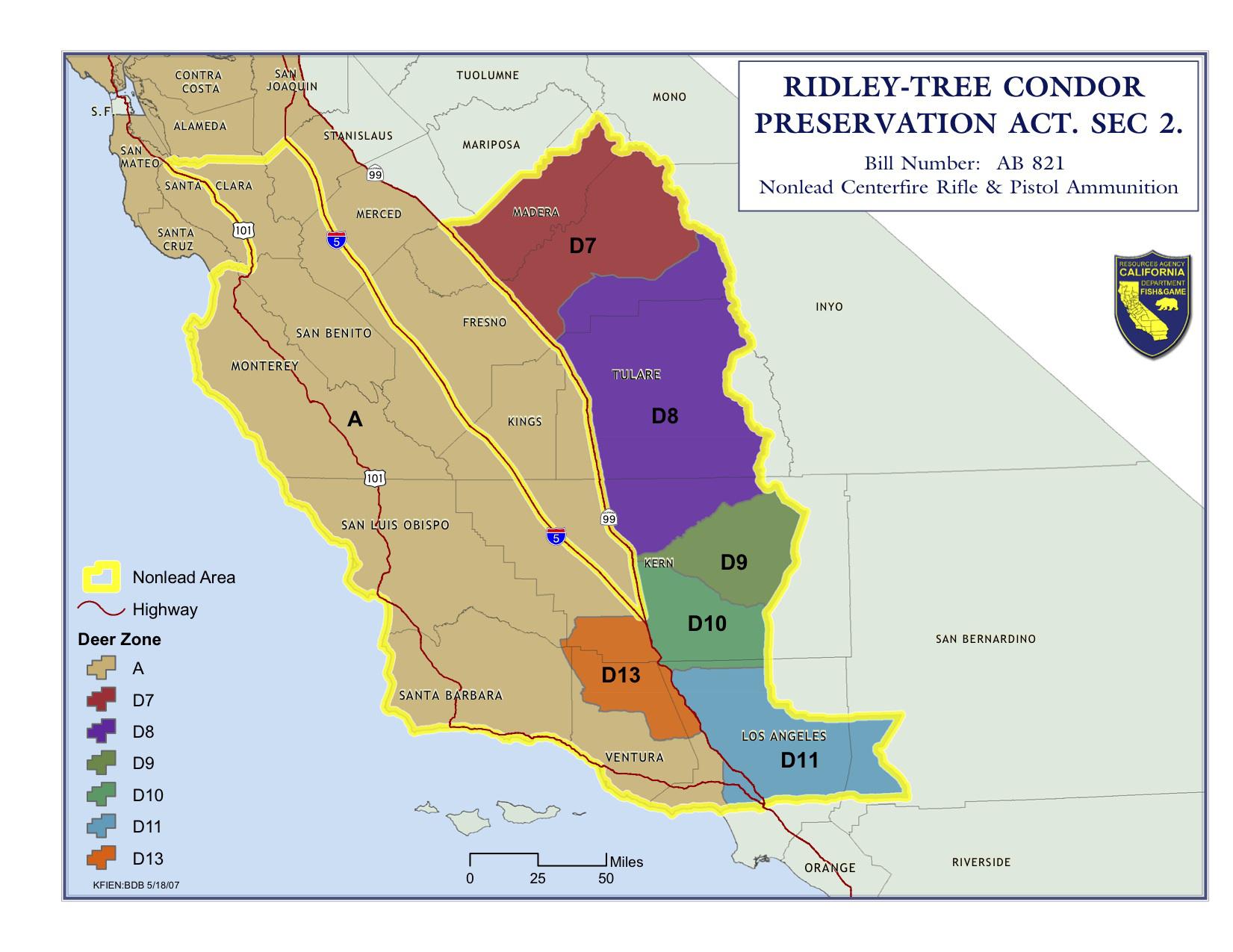 California Condor Range Hunting Legal Labrador And Upland Map - Southern California Hunting Maps