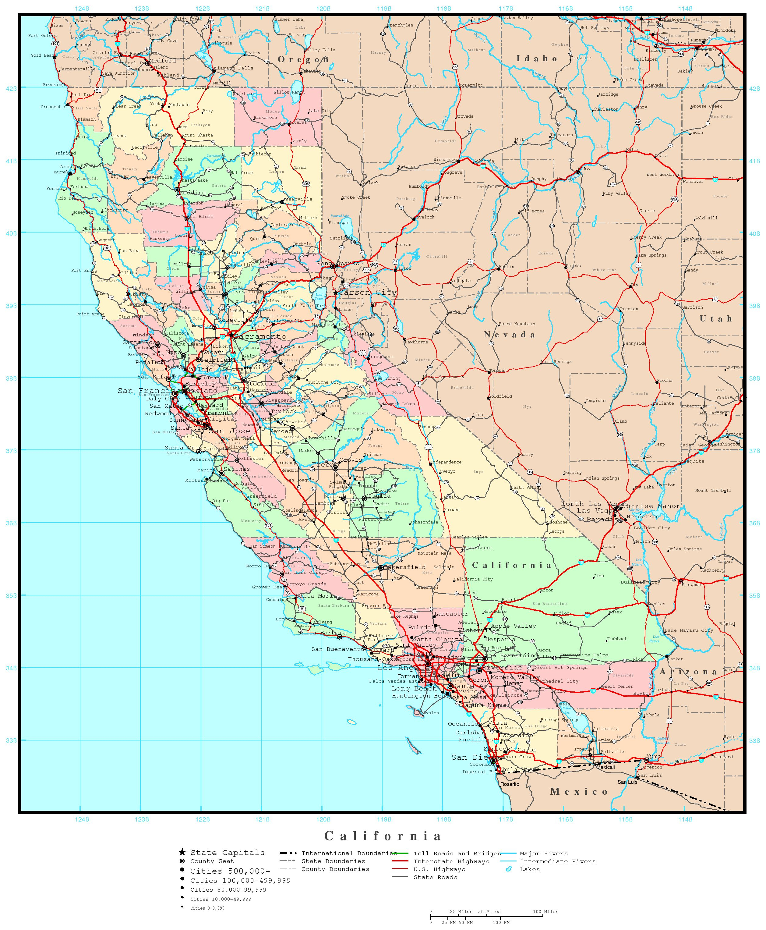California County Map For Maps Download Maps Maps Of California - California County Map With Roads