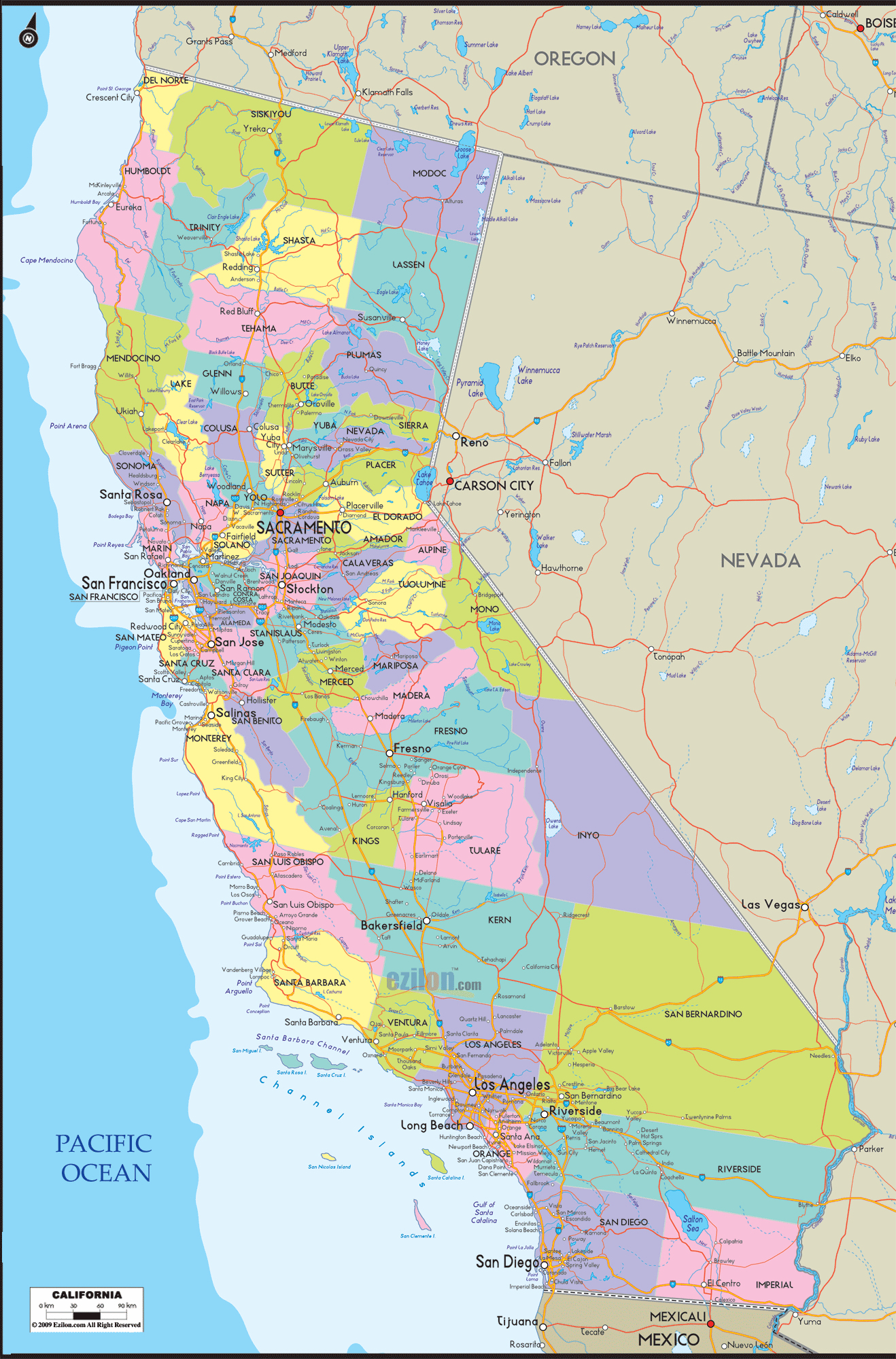 California County Map With Roads Google Maps California California - California County Map With Roads