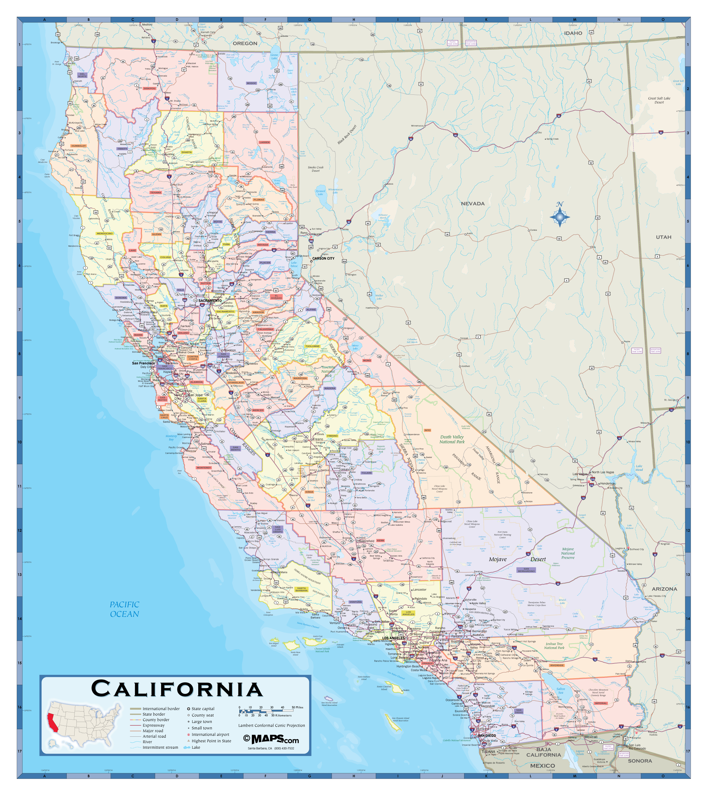 California County Wall Map - Maps - California County Map With Roads