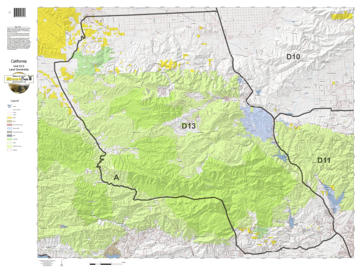 California Deer Hunting Zone D13 Map - Huntdata Llc - Avenza Maps - California Deer Zone Map 2018
