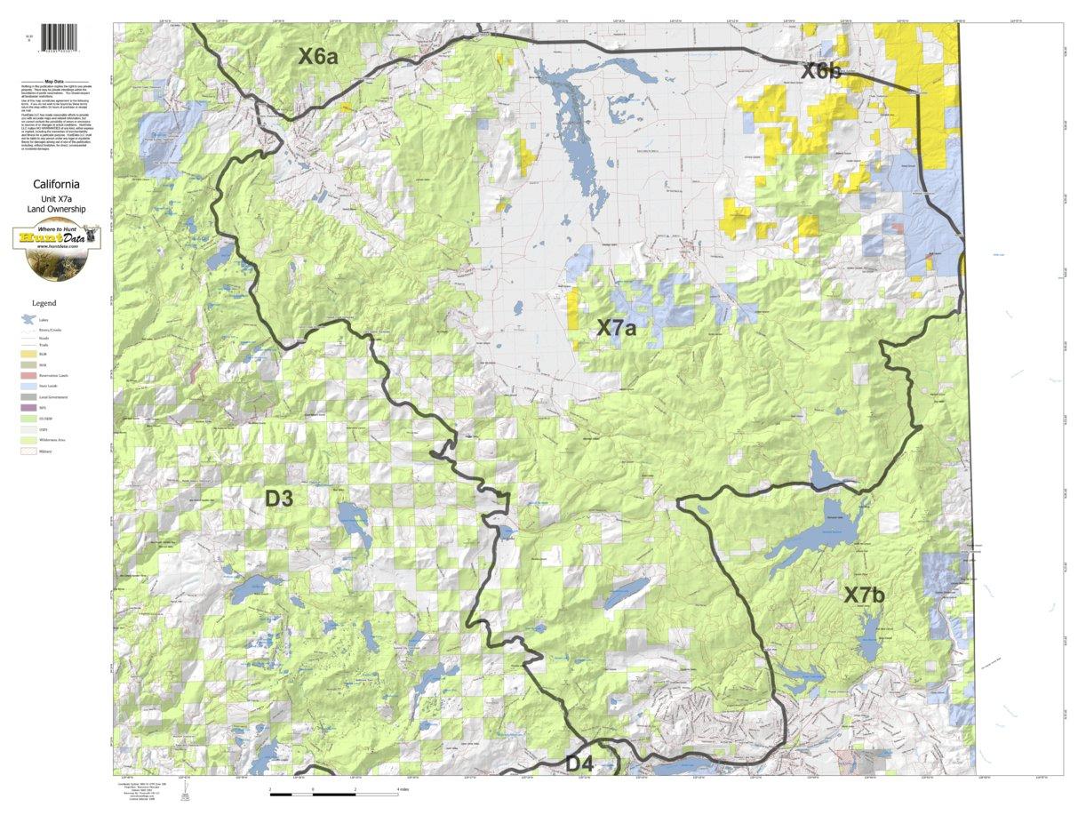 California Deer Hunting Zone X7A Map - Huntdata Llc - Avenza Maps - California Land Ownership Map