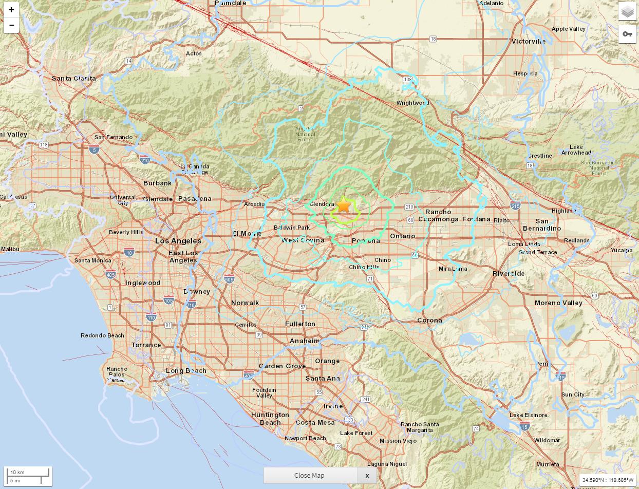California Earthquake Today: 4.4 Magnitude Hits La Verne, Shakes Los - Valencia California Map