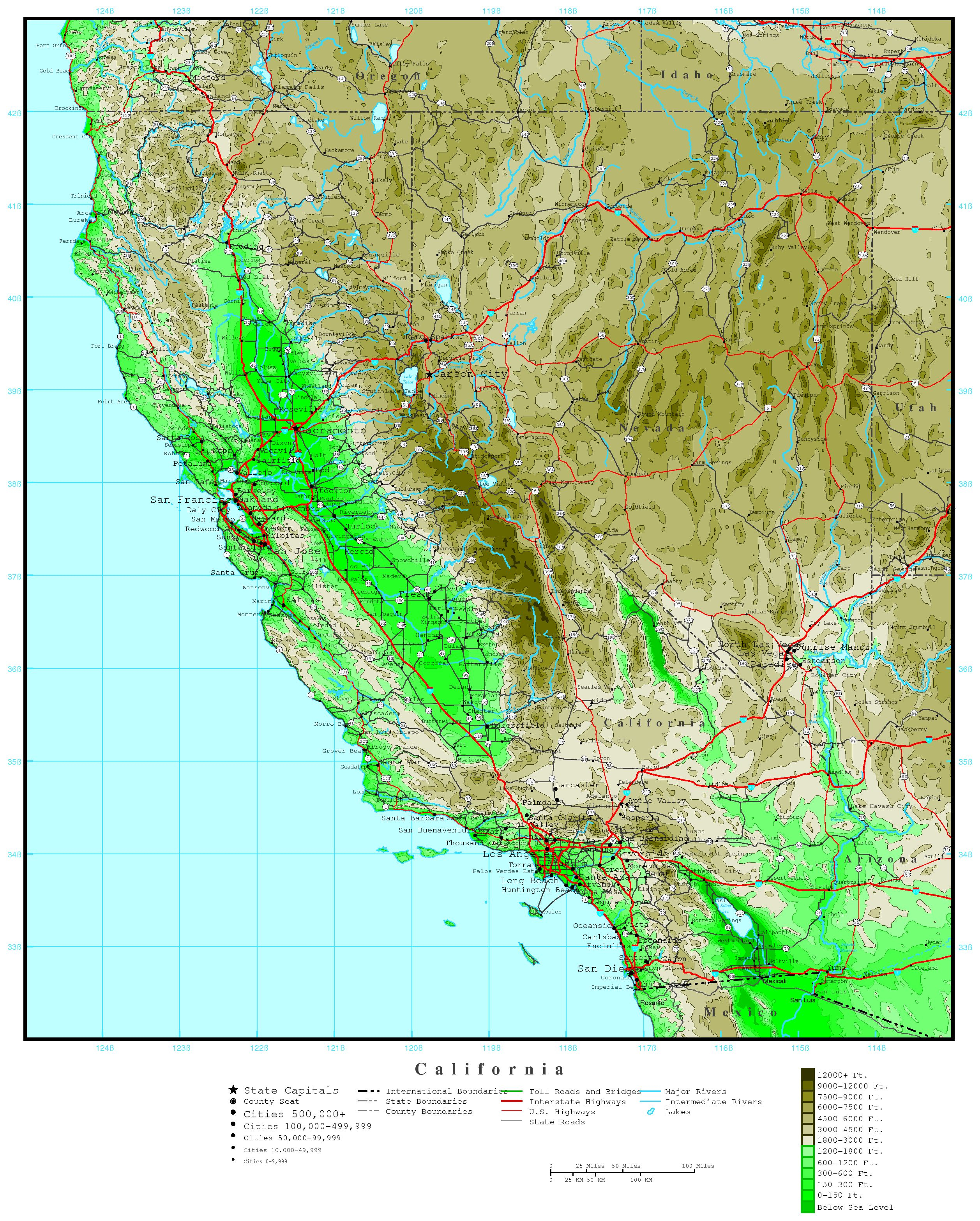 California Elevation Map - Map Of Southern California Cities