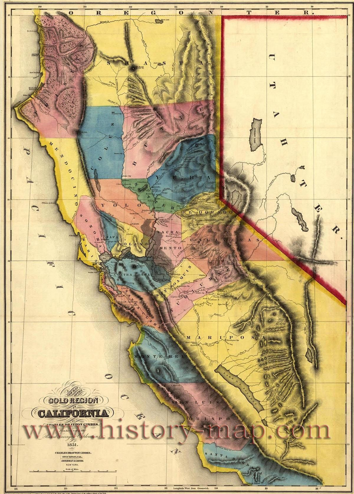 "California Gold Map ~ ""gold Mines And Mining. Gibbes' New Map Of - California Gold Prospecting Map"