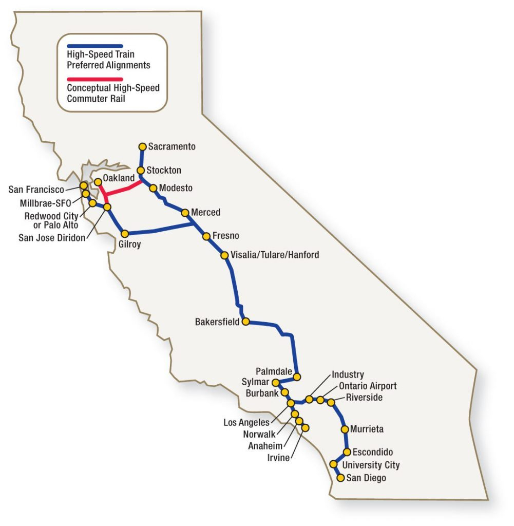 California High Speed Rail Route Map - Klipy - California High Speed Rail Project Map