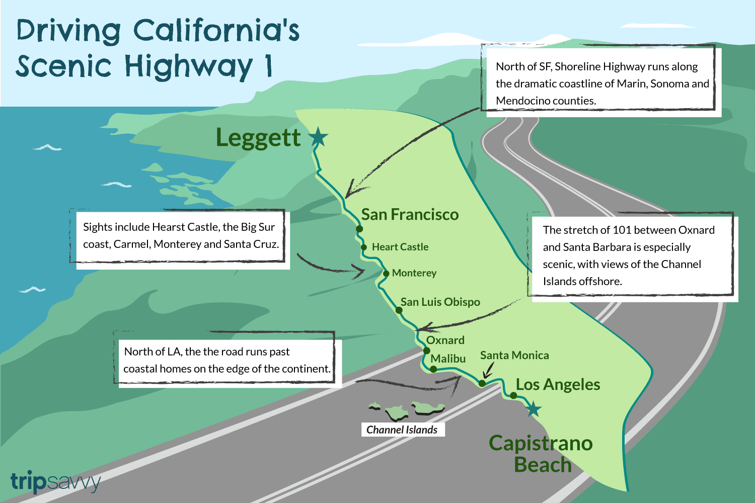 California Highway 1: 750 Miles Of Spectacular Scenery - California Highway 1 Road Trip Map