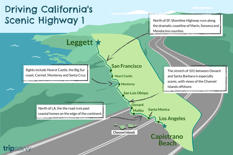 California Highway 1: 750 Miles Of Spectacular Scenery - California Highway 1 Road Trip Map