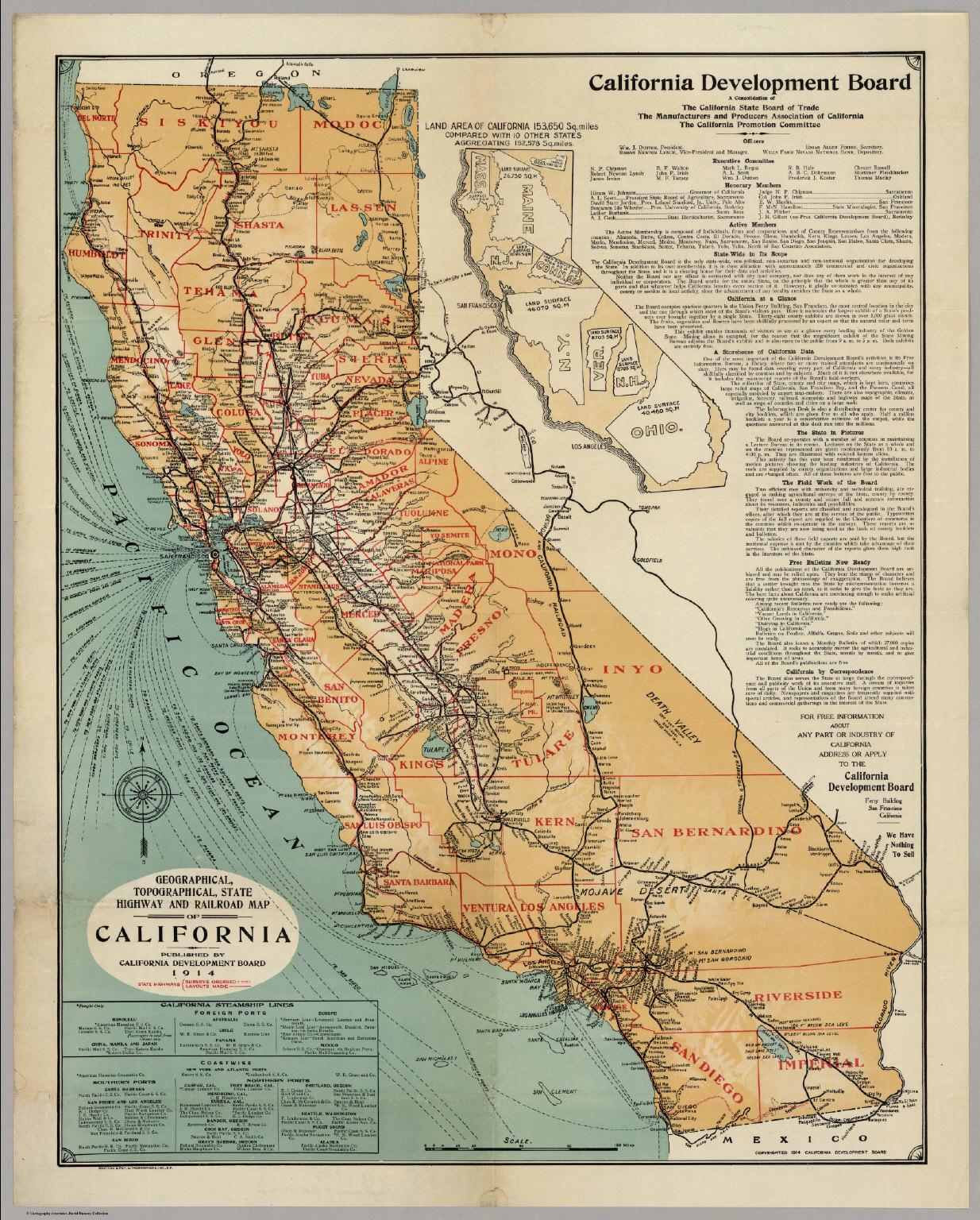 California Highway And Railroad Map - David Rumsey Historical Map - California Railroad Map