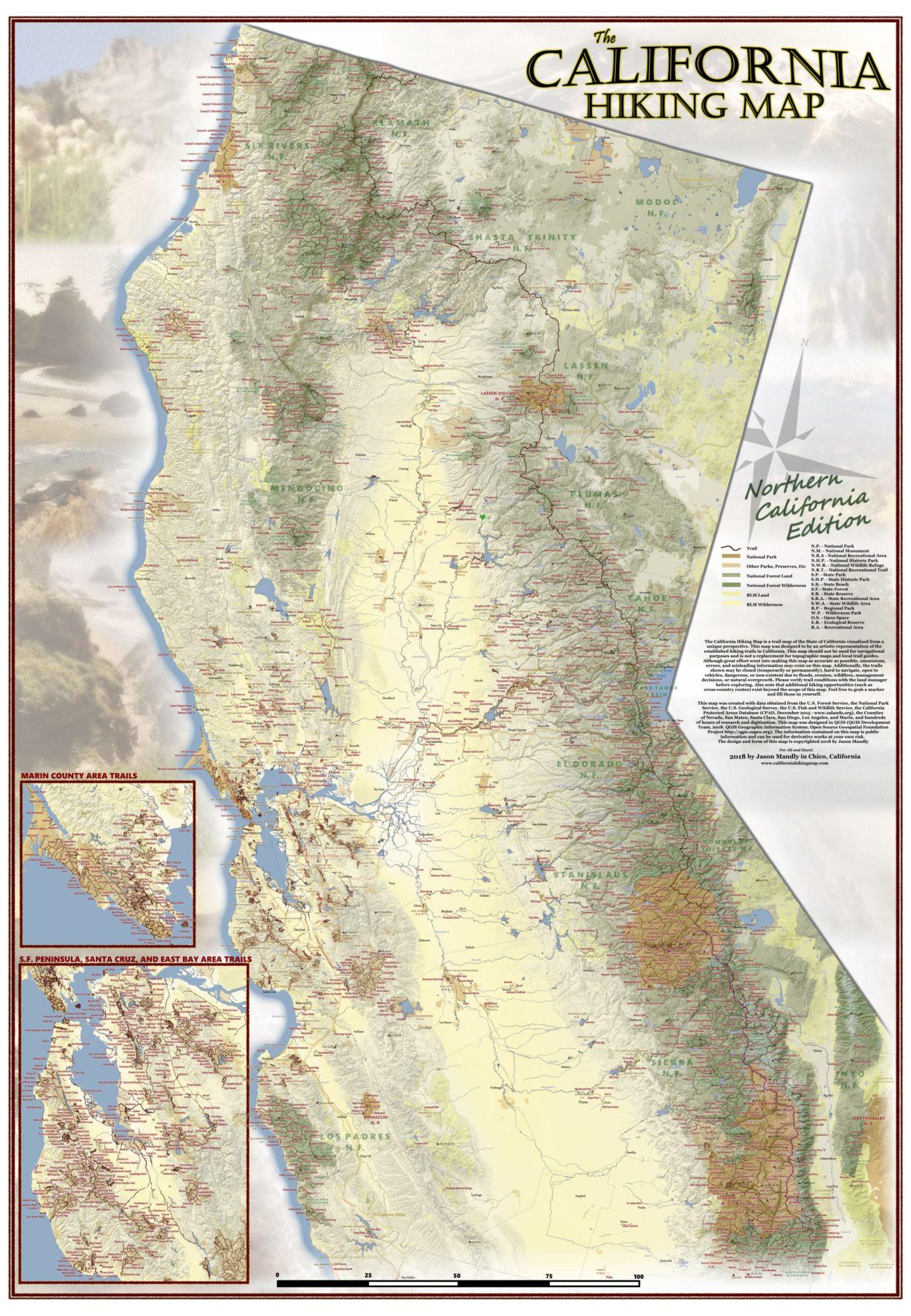 California Hiking Map - California Hiking Trails Map
