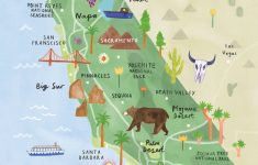 California Illustrated Map – California Print – California Map – California Roadside Attractions Map