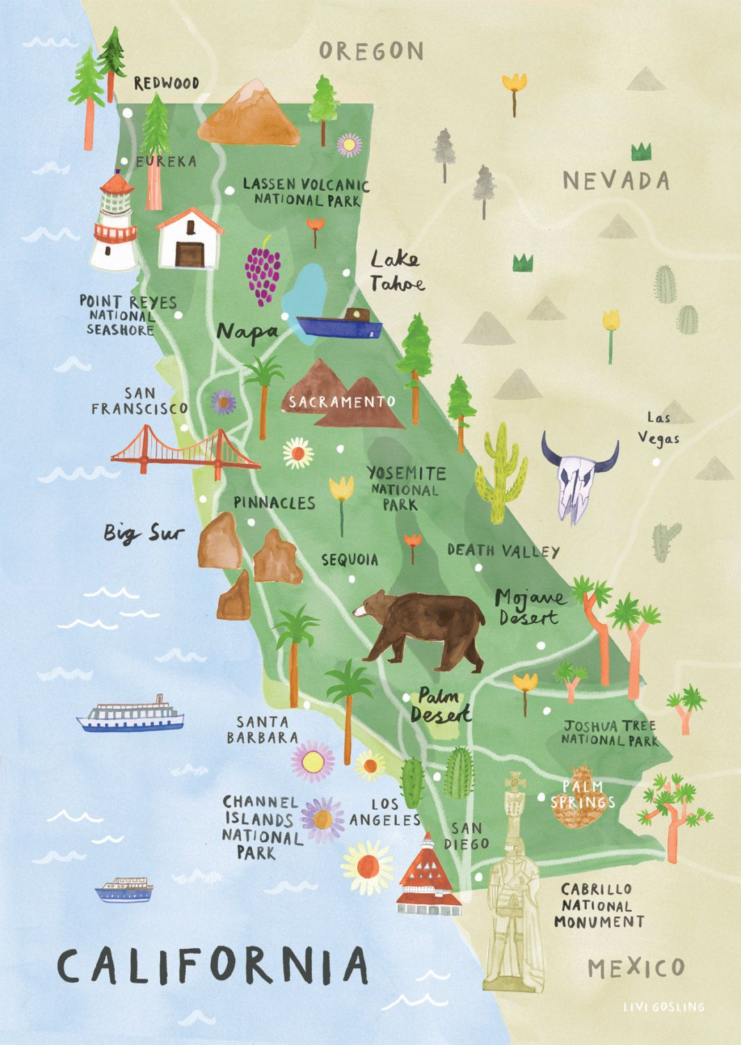 California Illustrated Map - California Print - California Map - California Vacation Map