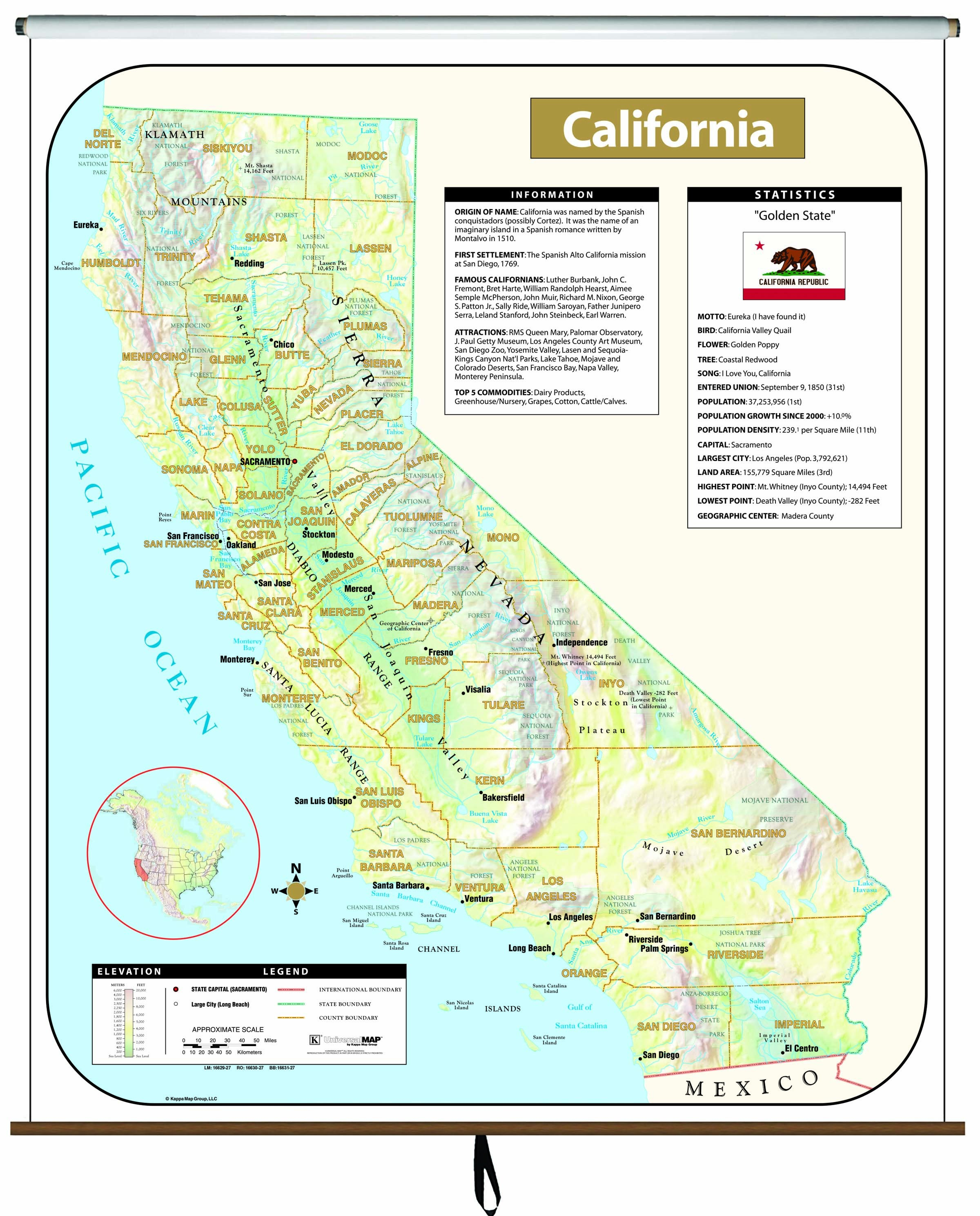 California Large Scale Shaded Relief Wall Map On Roller - Maps - Large Wall Map Of California